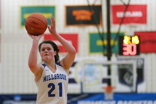 Millbrook's Erin Fox shoots a free throw during a Class C girls basketball regional final against Pierson on March 9, 2019.