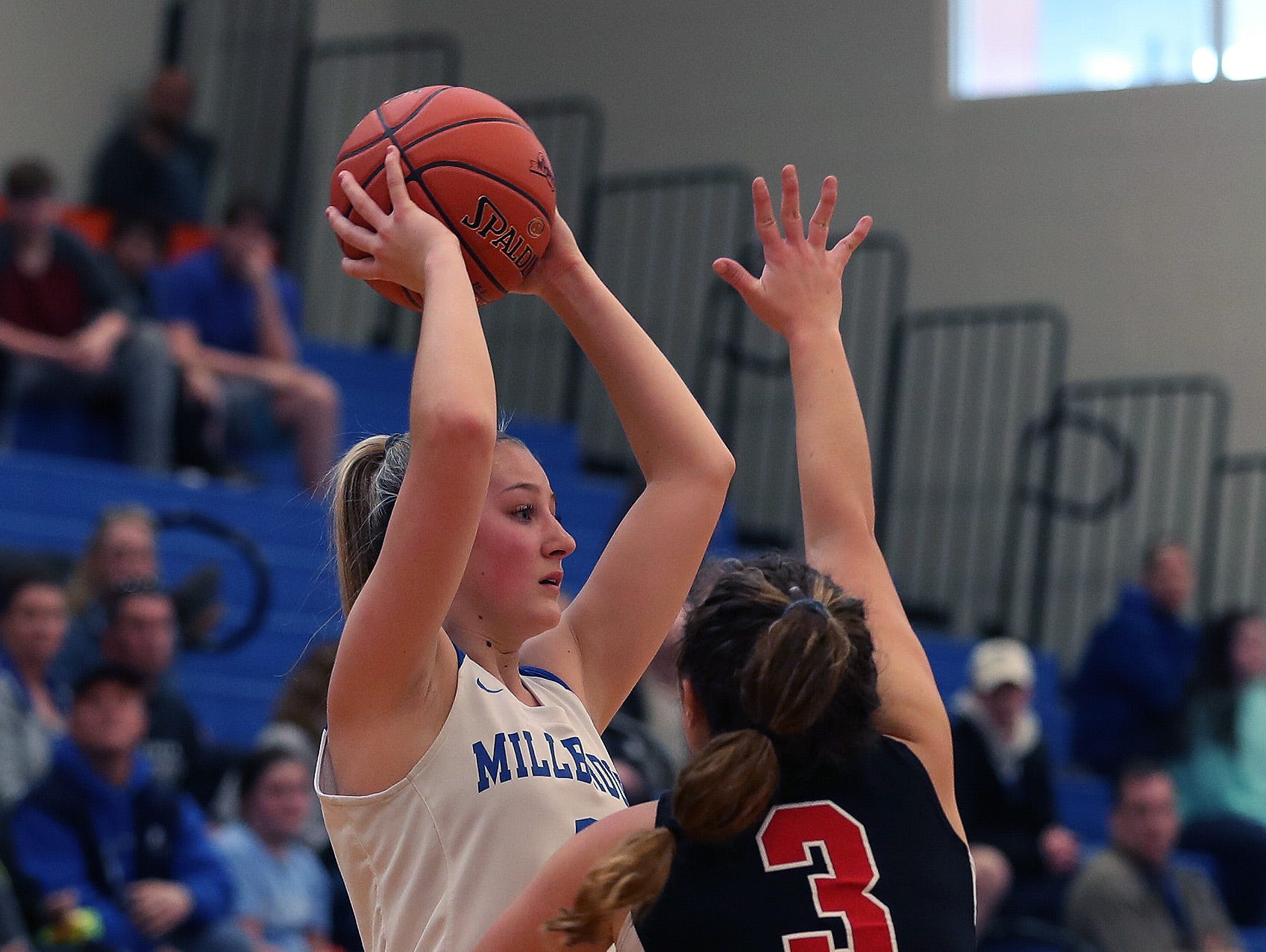 Millbrook defeated Pierson/Bridgehampton/Shelter Island 55-26 in the girls regional final at SUNY New Paltz Match 9, 2019.