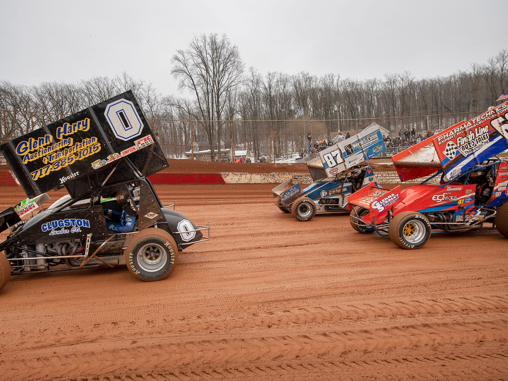 Cars warm up for the Lincoln Speedway Ice Breaker 30 on Sunday near Abbottstown.