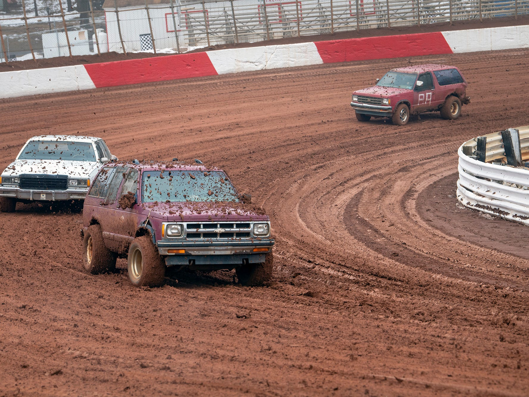 Vehicles with fat tires were used to condition the track prior to Sunday's Lincoln Speedway Ice Breaker 30.