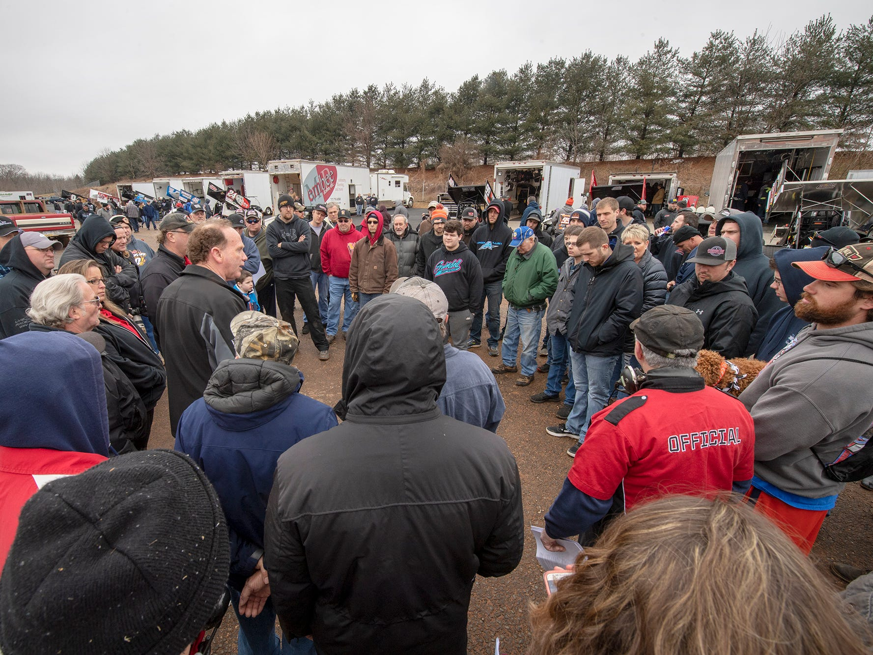 A meeting for drivers is held before the Lincoln Speedway Ice Breaker 30 begins.
