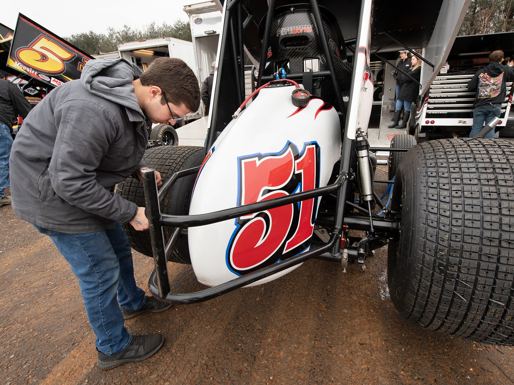 Freddie Rehmer prepares his car before the Lincoln Speedway Ice Breaker 30 on Sunday near Abbottstown.