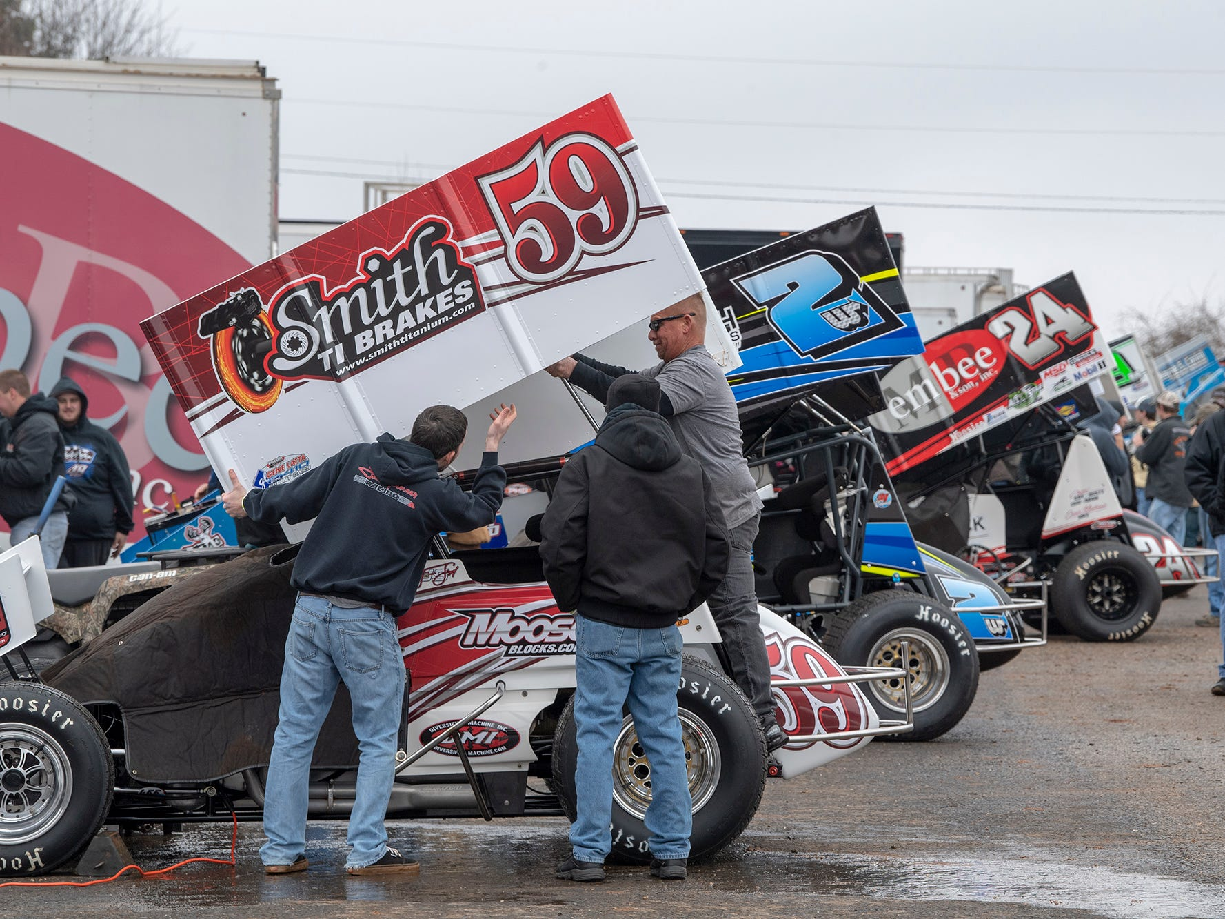 Drivers set up cars in the pit before the Lincoln Speedway Ice Breaker 30 on Sunday near Abbottstown.