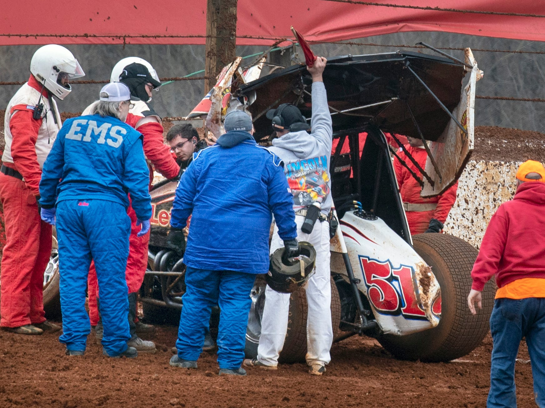 Freddie Rahmer emerges from the 51 car after a crash in the fourth turn of the 16th lap during the 2019 Lincoln Speedway Ice Breaker 30.