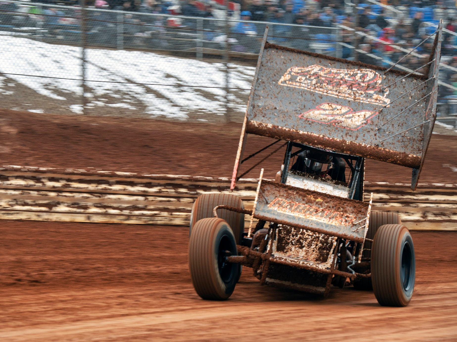 Lucas Wolfe takes the first turn during the Lincoln Speedway Ice Breaker 30 on Sunday near Abbottstown. Wolfe went on to win the race.