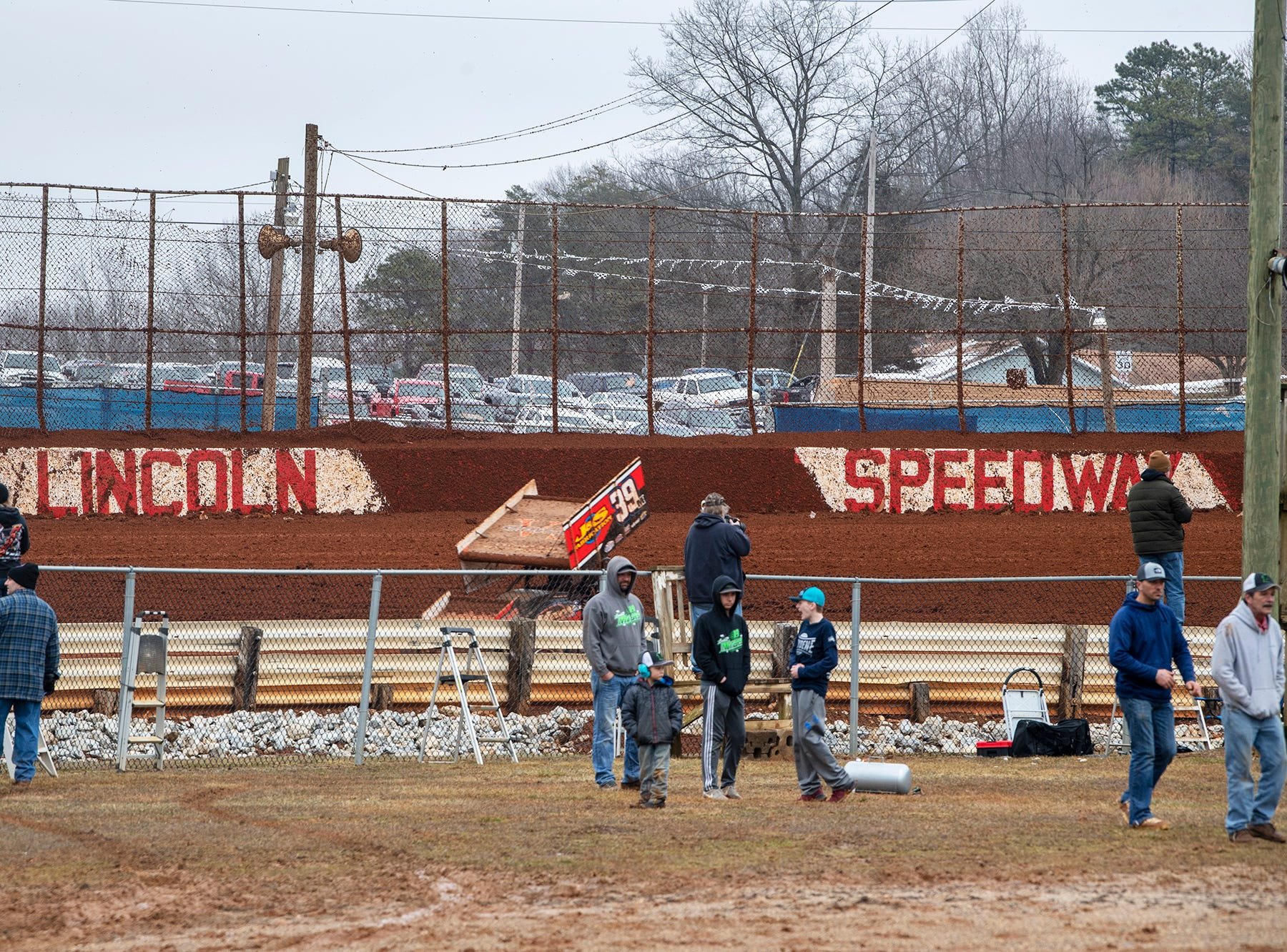 Car circle the track during the Lincoln Speedway Ice Breaker 30 on Sunday near Abbottstown.