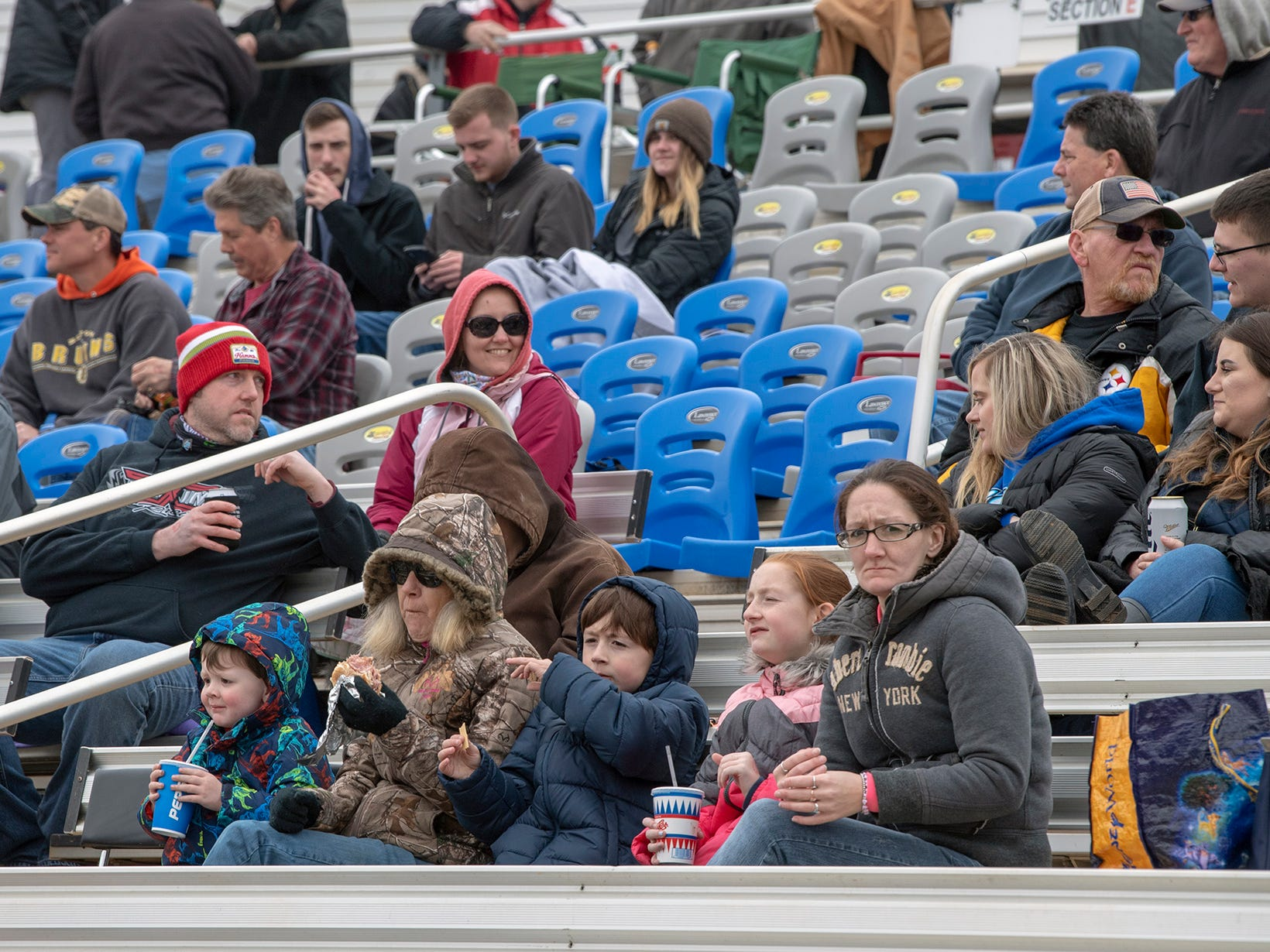 Fans wait for the race to begin during the Lincoln Speedway Ice Breaker 30 on Sunday near Abbottstown.