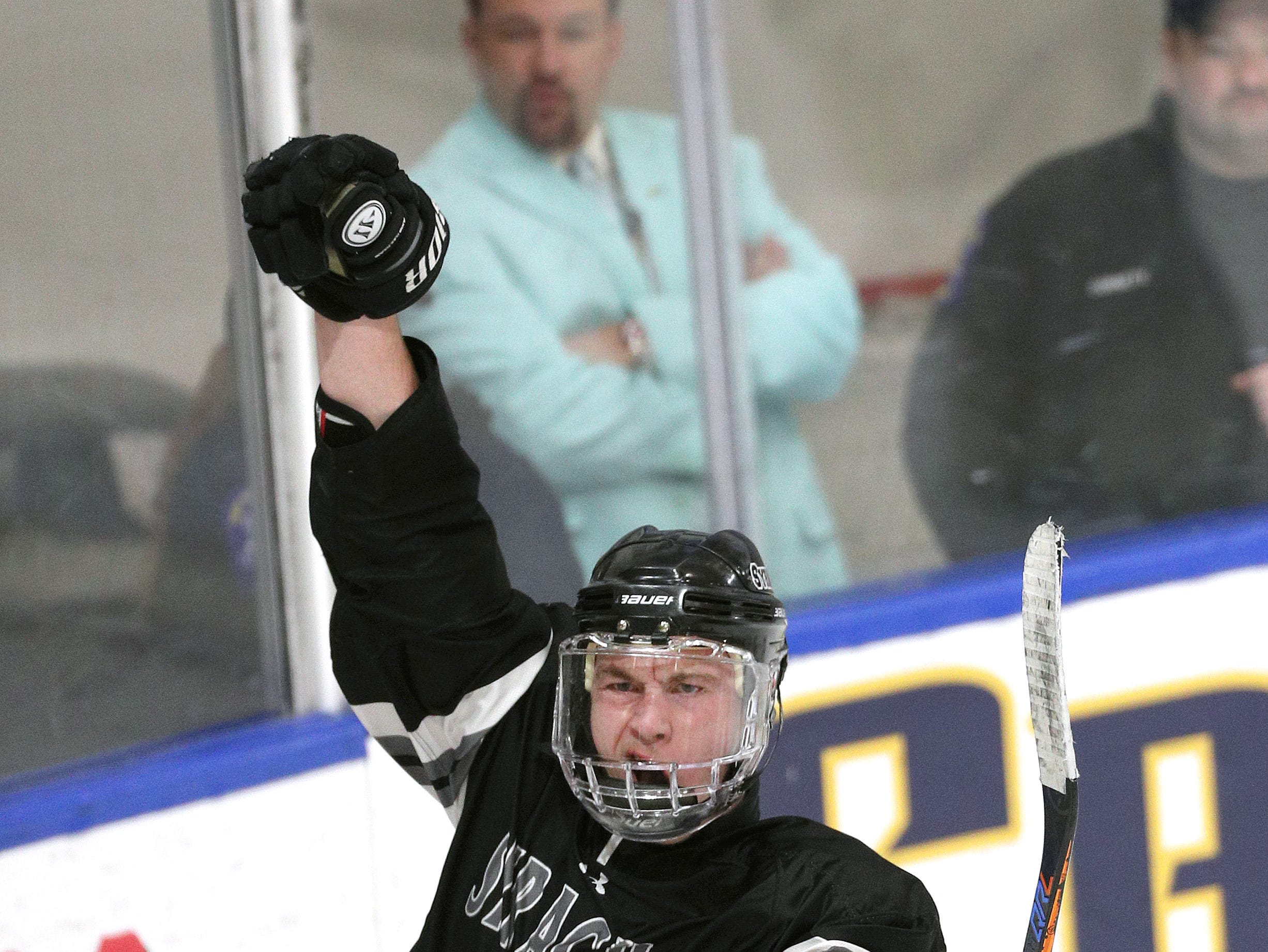 Syracuse's Ryan Eccles celebrates the first of his two goals against Suffern .