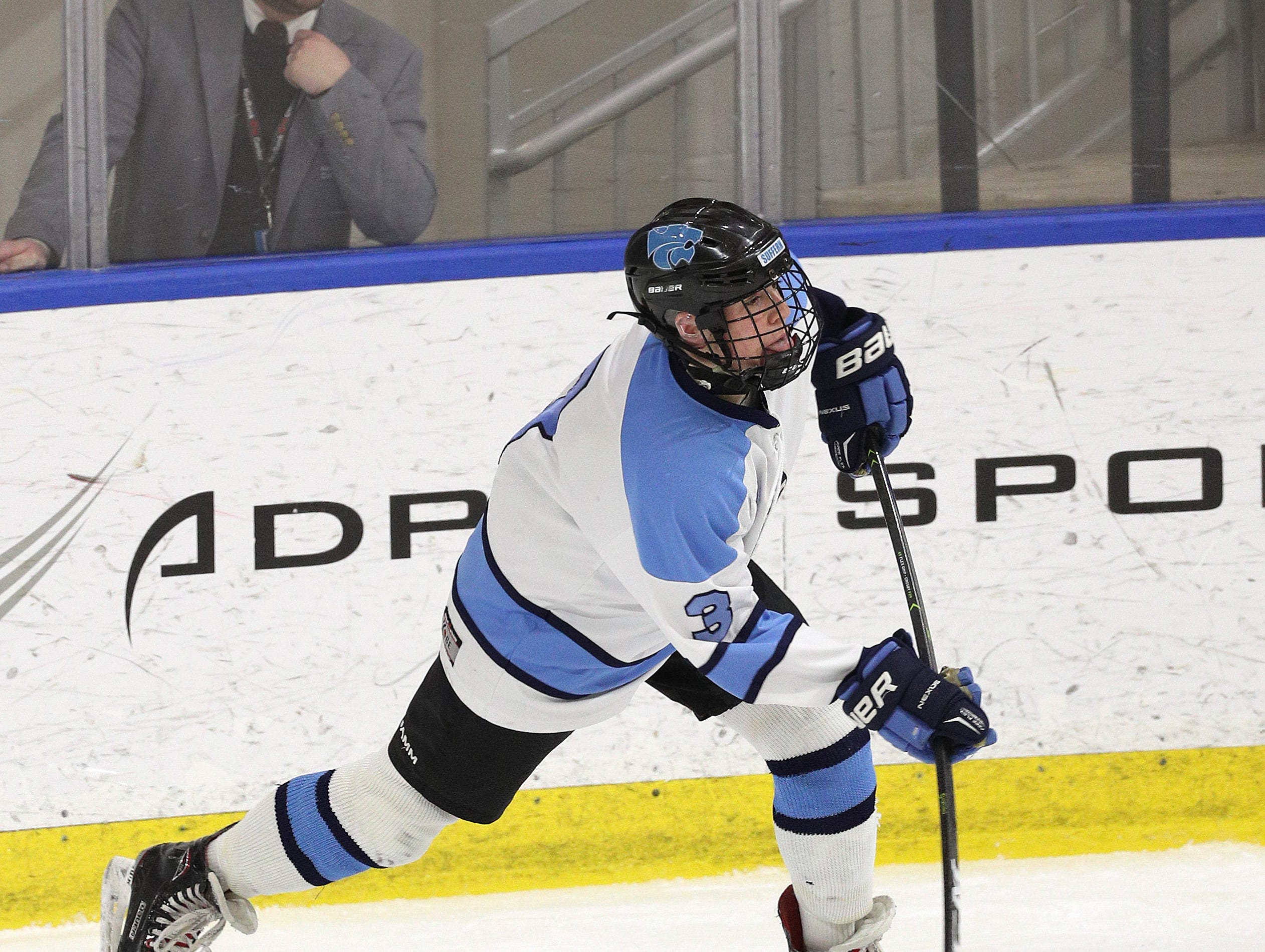 Suffern's Jared Marter gets off a wrist shot against Syracuse.