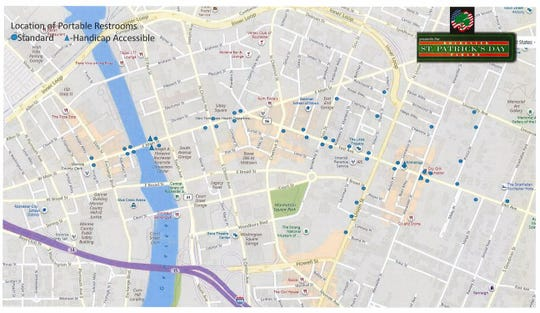 A map provided by TOPS Rochester St. Patrick's Day Parade organizers shows portable restroom locations along the parade route.