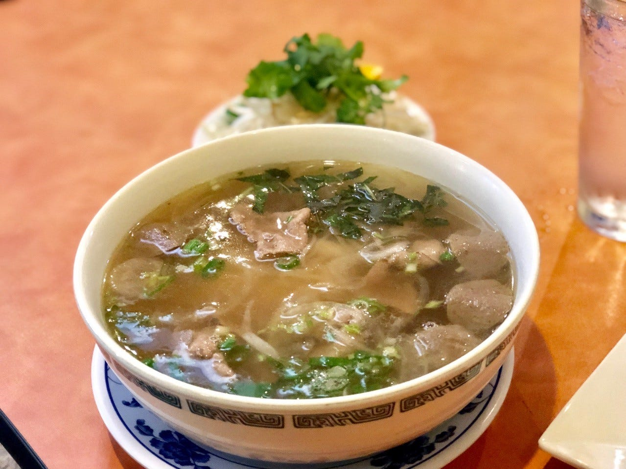 An order of pho with beef and meatballs at Pho Saigon.