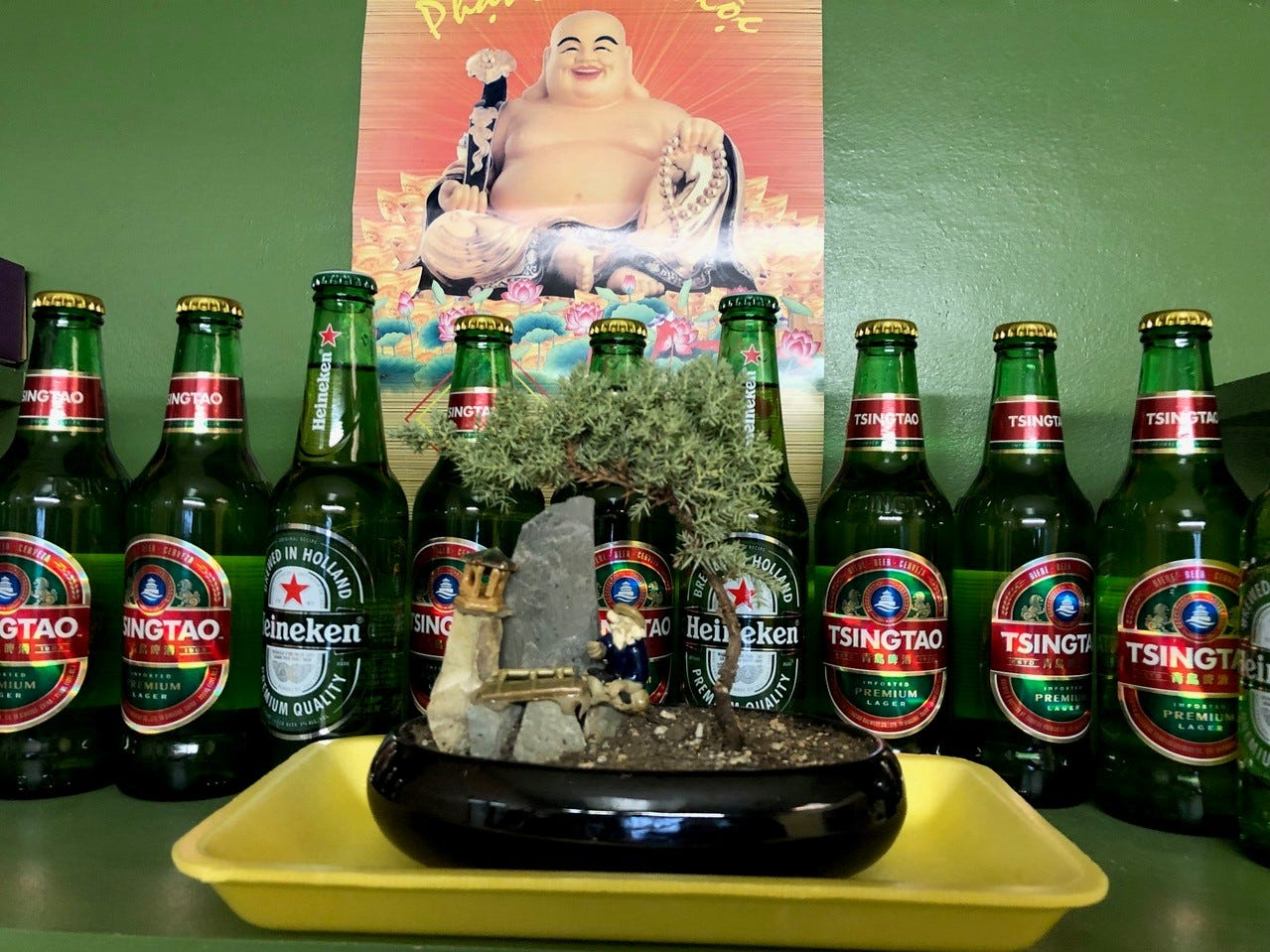 Bonsai, beer and Buddha in one corner of Pho Saigon in east Redding.