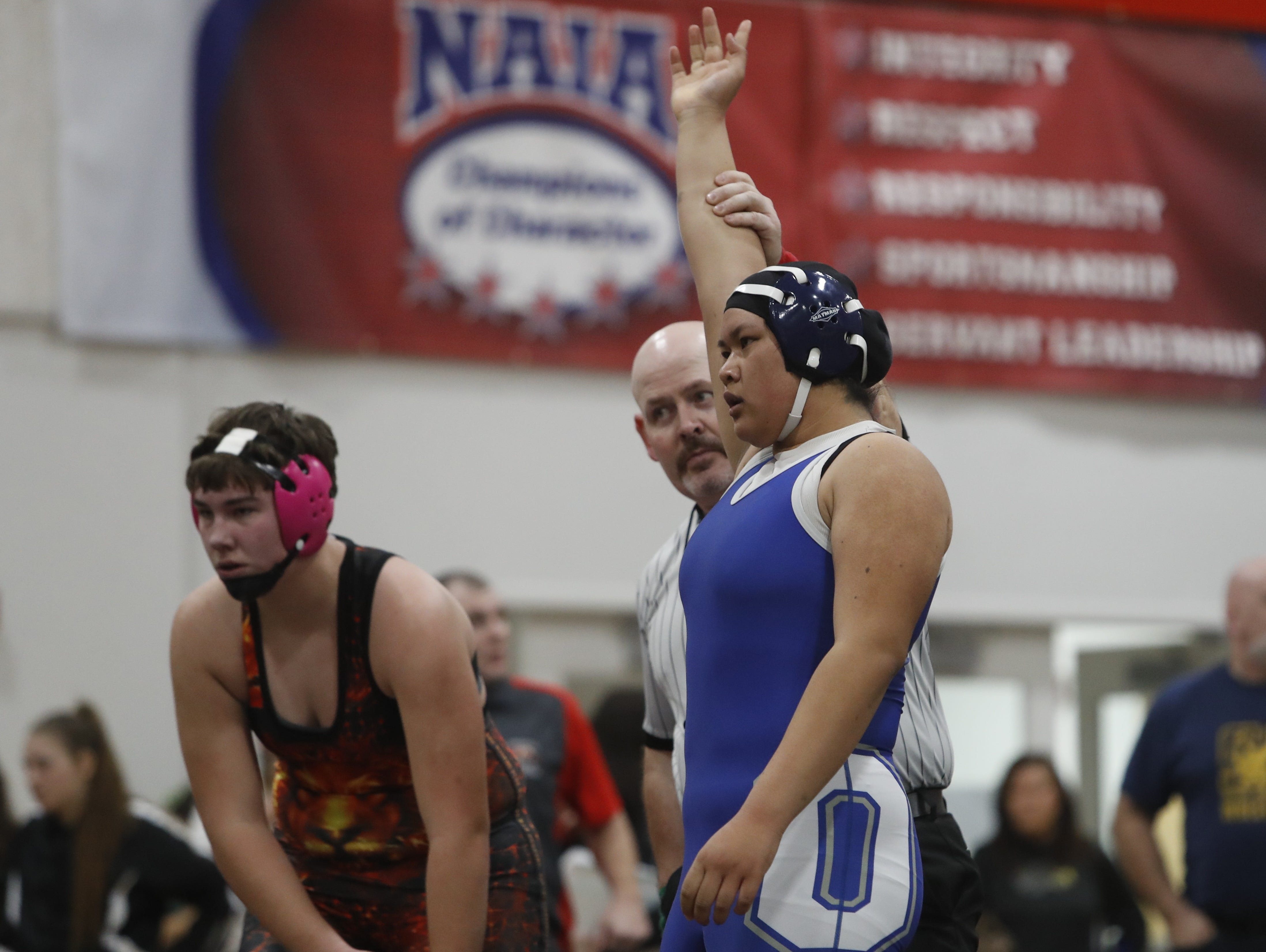 California's Nyla Thitphaneth of Orland (right) defeats her Oregonian opponent at the ORCA Senior All-Star Duals at Simpson University on Saturday, March 9.