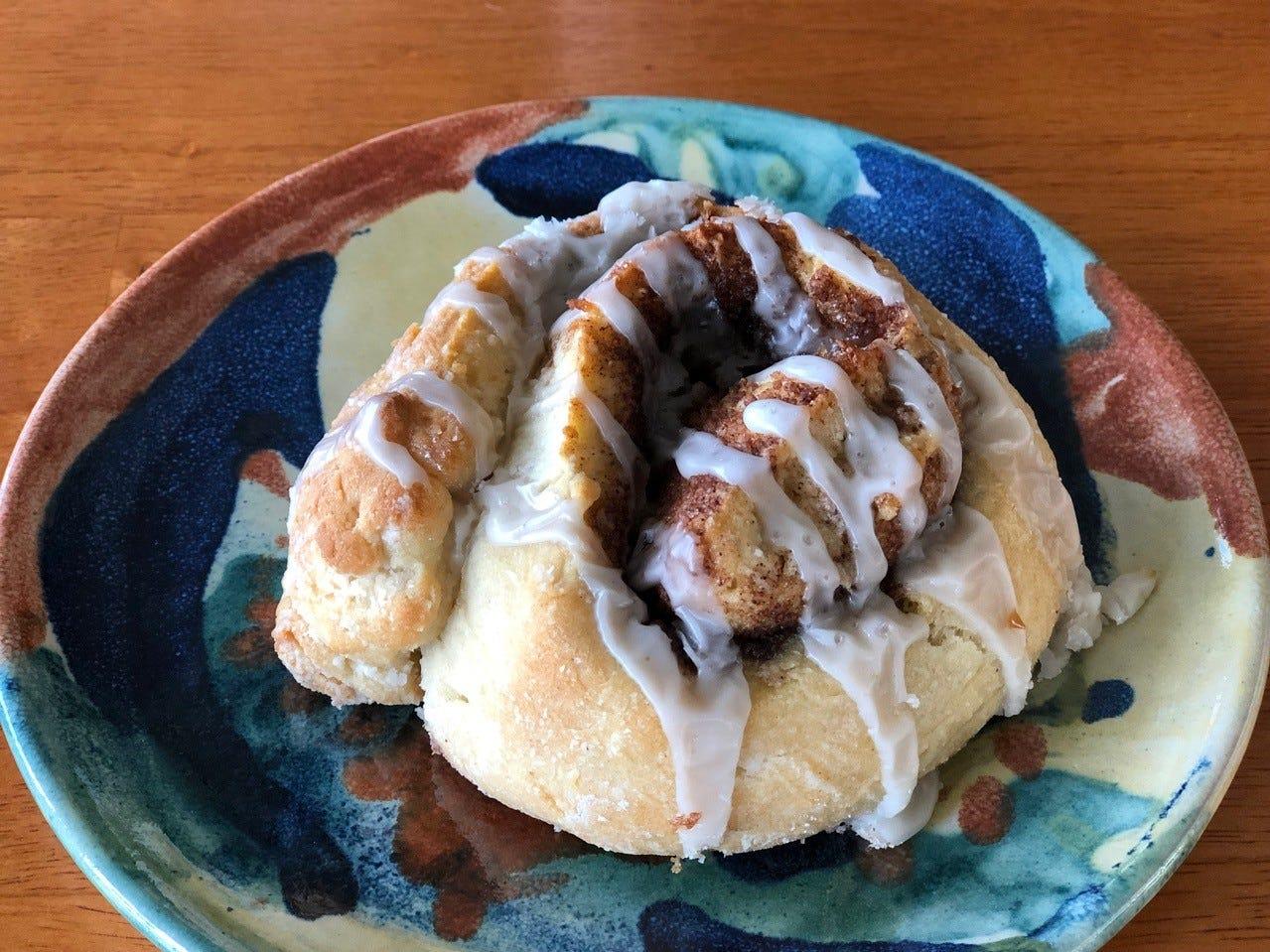 Example of Eden Bakery's gluten-free cinnamon rolls.