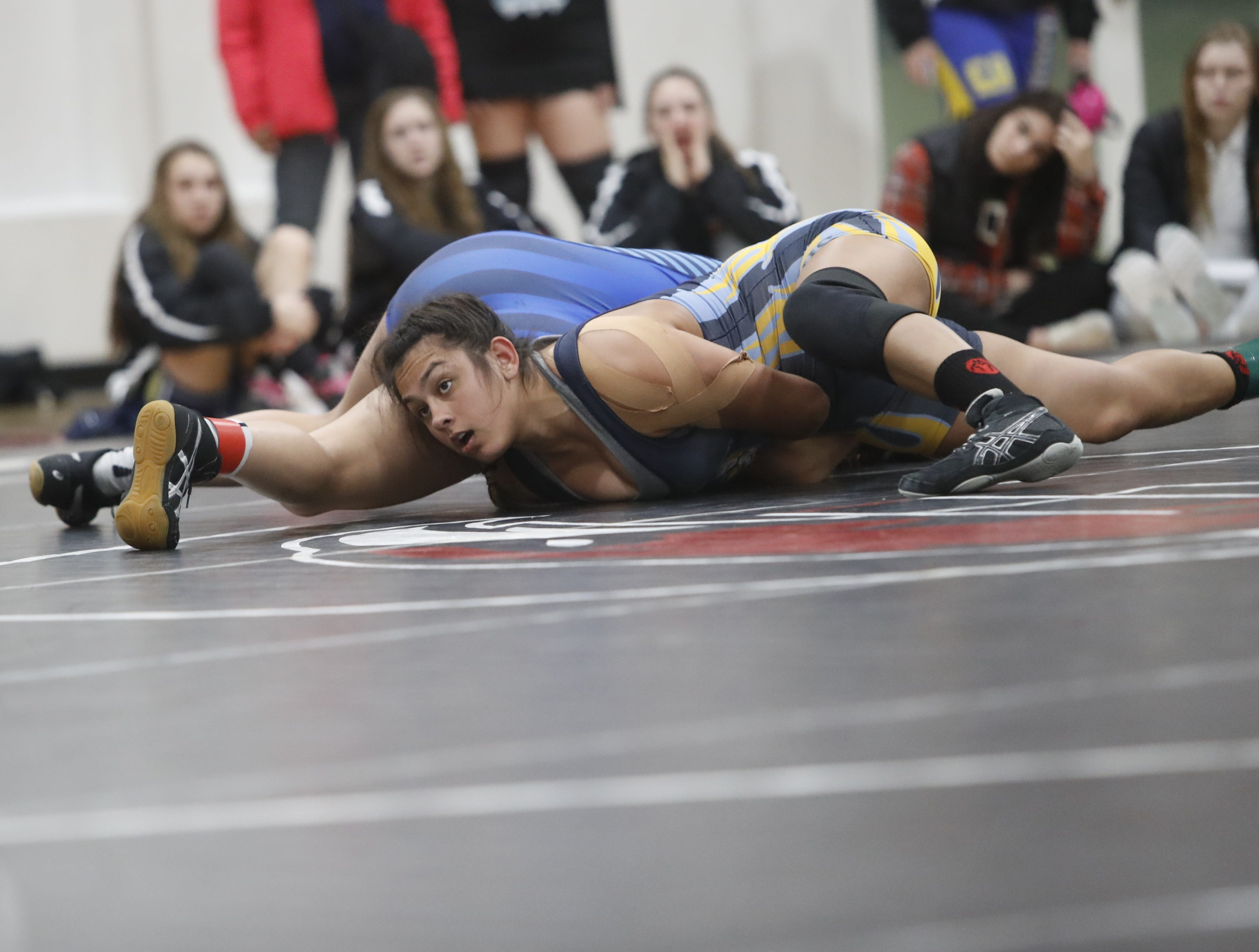 California's Michelle Kamyshin (below) of River City wrestles against Oregon's Yawnah Brown of Henley at the ORCA Senior All-Star Duals at Simpson University on Saturday, March 9.