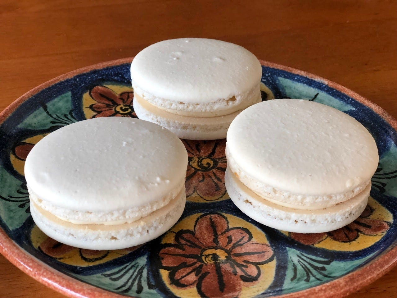 Three of Eden Bakery's French macarons.
