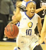 Angelo State University's Marquita Daniels dribbles during a women's basketball game in the 2018-19 season.