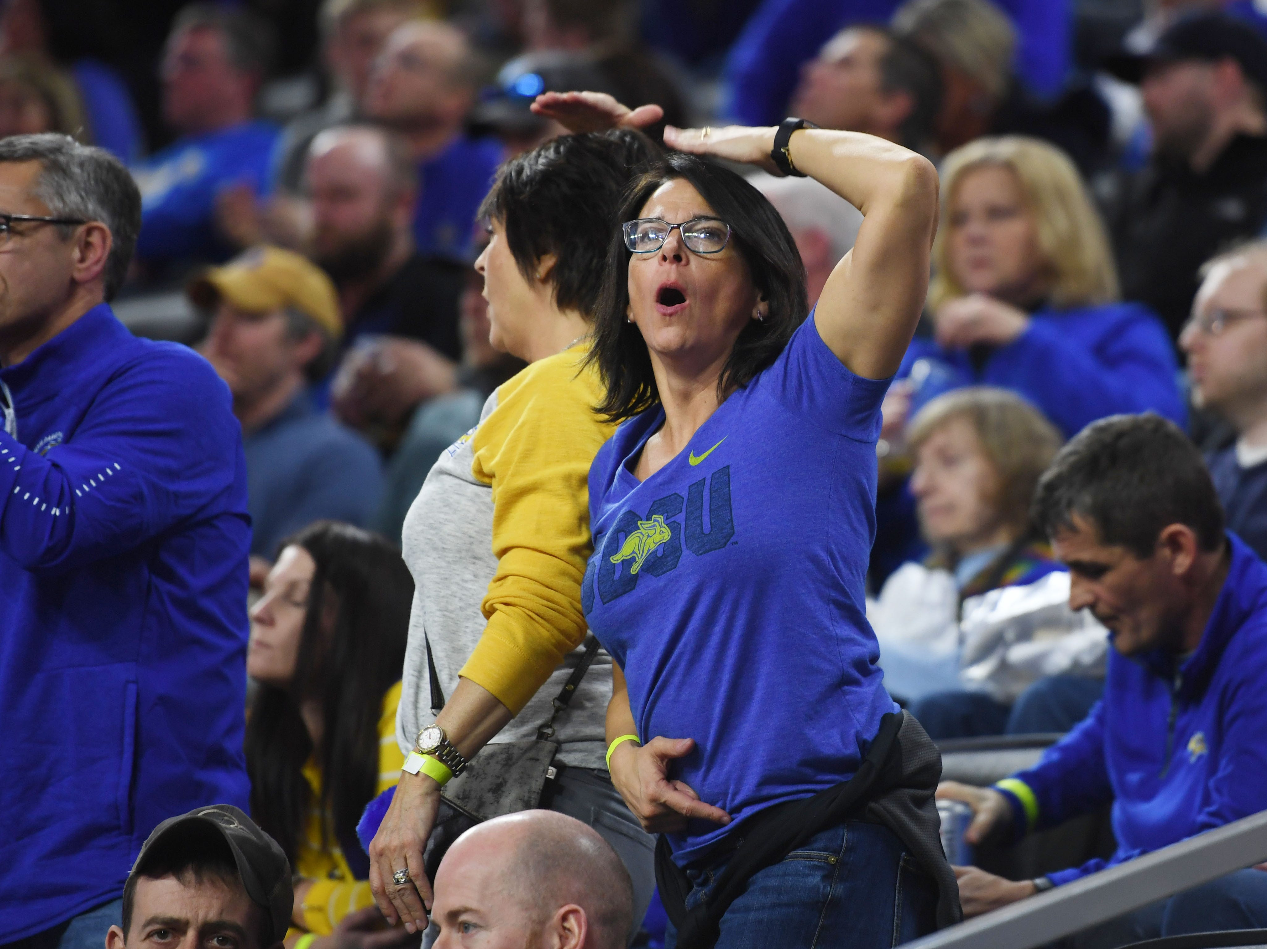 An SDSU fan reacts during the game against Western Illinois Saturday, March 9, in the Summit League tournament at the Denny Sanford Premier Center in Sioux Falls.
