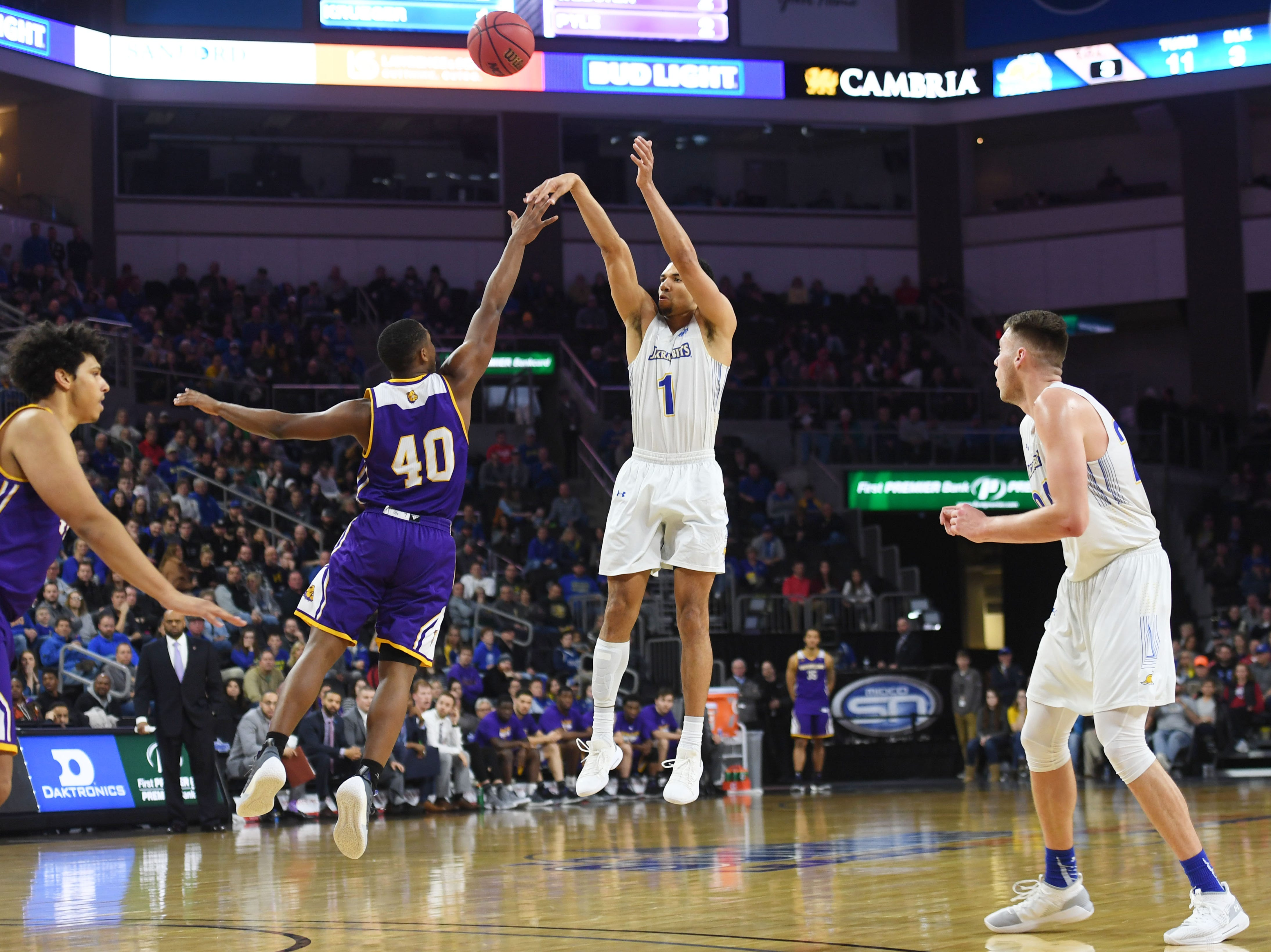 SDSU's Skyler Flatten takes a shot against Western Illinois during the game Saturday, March 9, in the Summit League tournament at the Denny Sanford Premier Center in Sioux Falls.