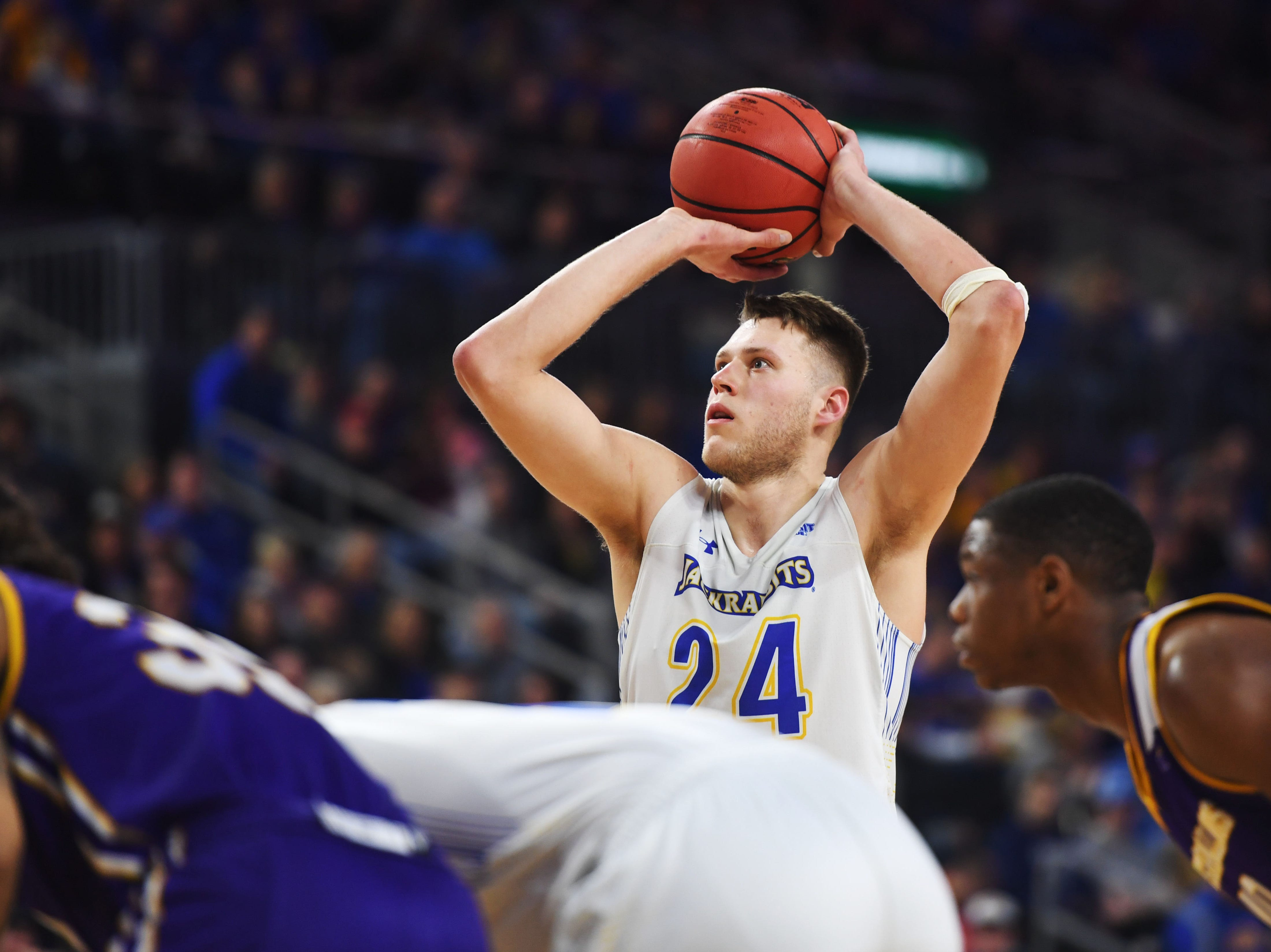 SDSU's Mike Daum shoots a free throw against Western Illinois Saturday, March 9, in the Summit League tournament at the Denny Sanford Premier Center in Sioux Falls.