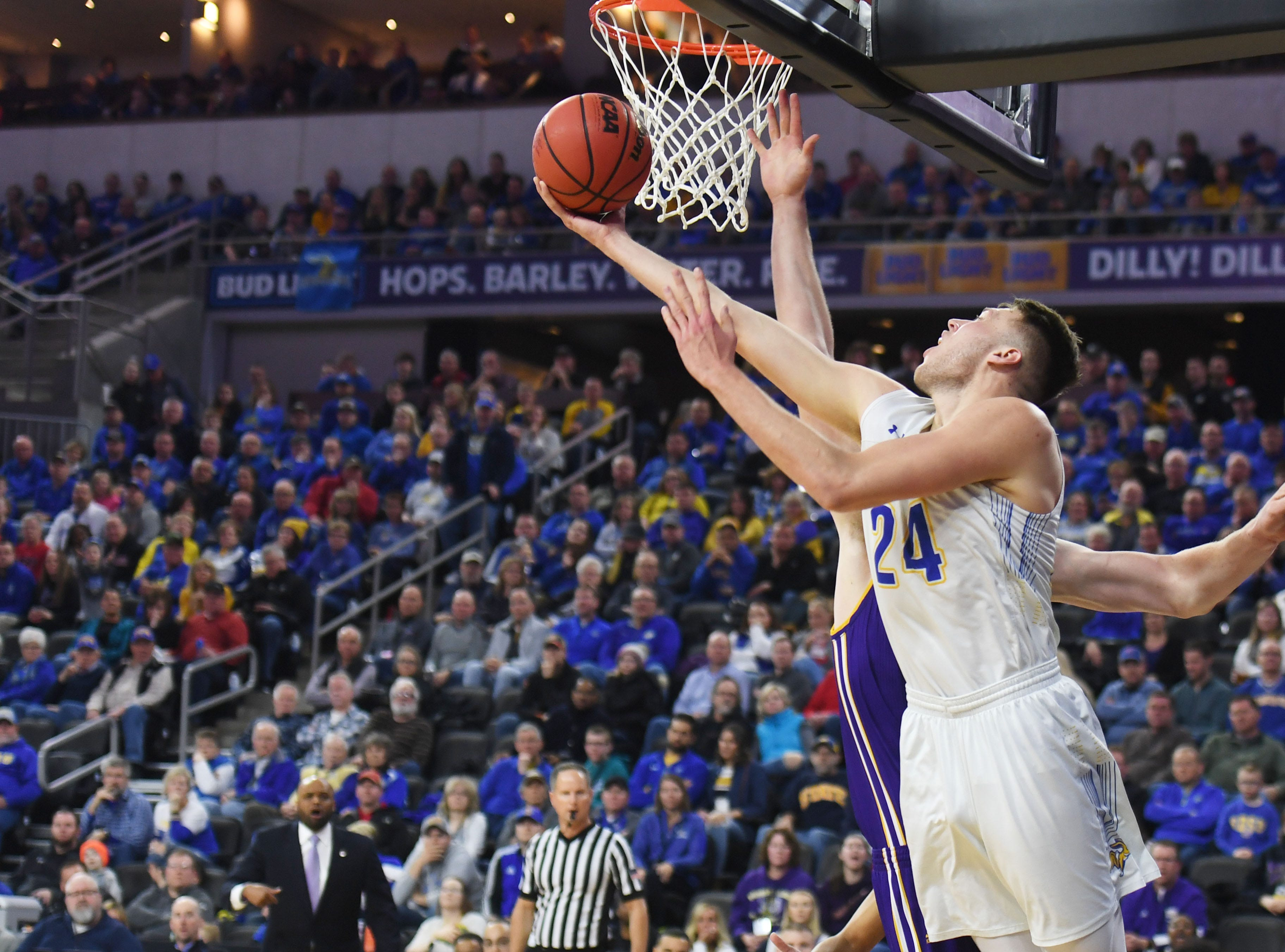 SDSU's Mike Daum attempts to score against Western Illinois during the game Saturday, March 9, in the Summit League tournament at the Denny Sanford Premier Center in Sioux Falls.