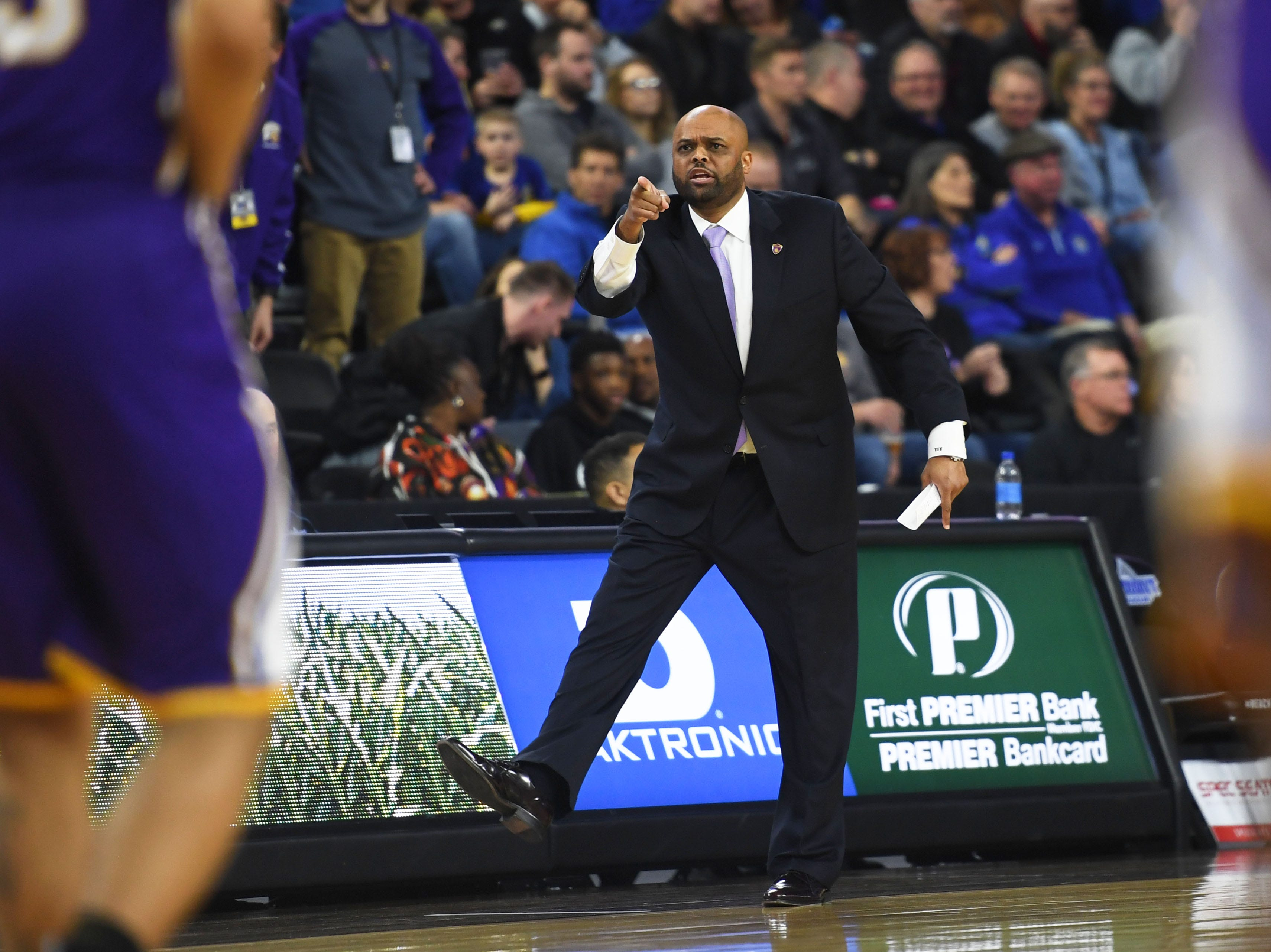 Western Illinois' head coach Billy Wright during the game against SDSU Saturday, March 9, in the Summit League tournament at the Denny Sanford Premier Center in Sioux Falls.