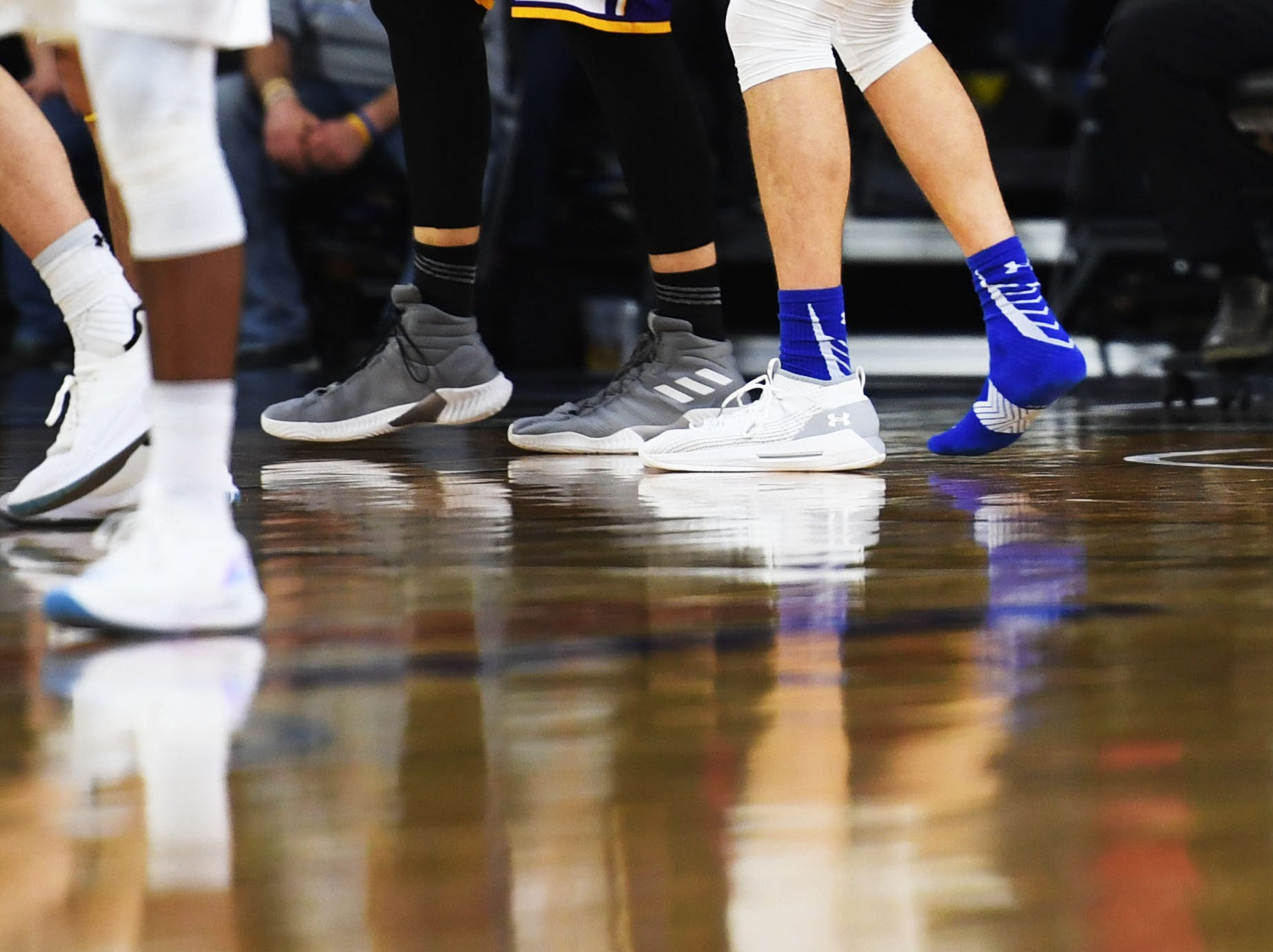 SDSU's Mike Daum looses his shoe during the game against Western Illinois Saturday, March 9, in the Summit League tournament at the Denny Sanford Premier Center in Sioux Falls.