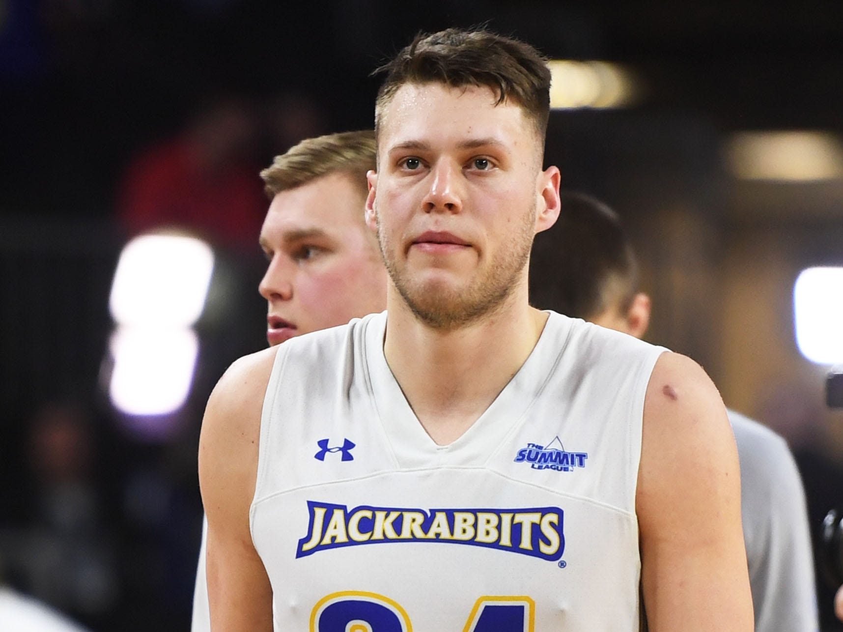 SDSU's Mike Daum walks off the court after the lose against Western Illinois Saturday, March 9, in the Summit League tournament at the Denny Sanford Premier Center in Sioux Falls. Western Illinois won 79-76.