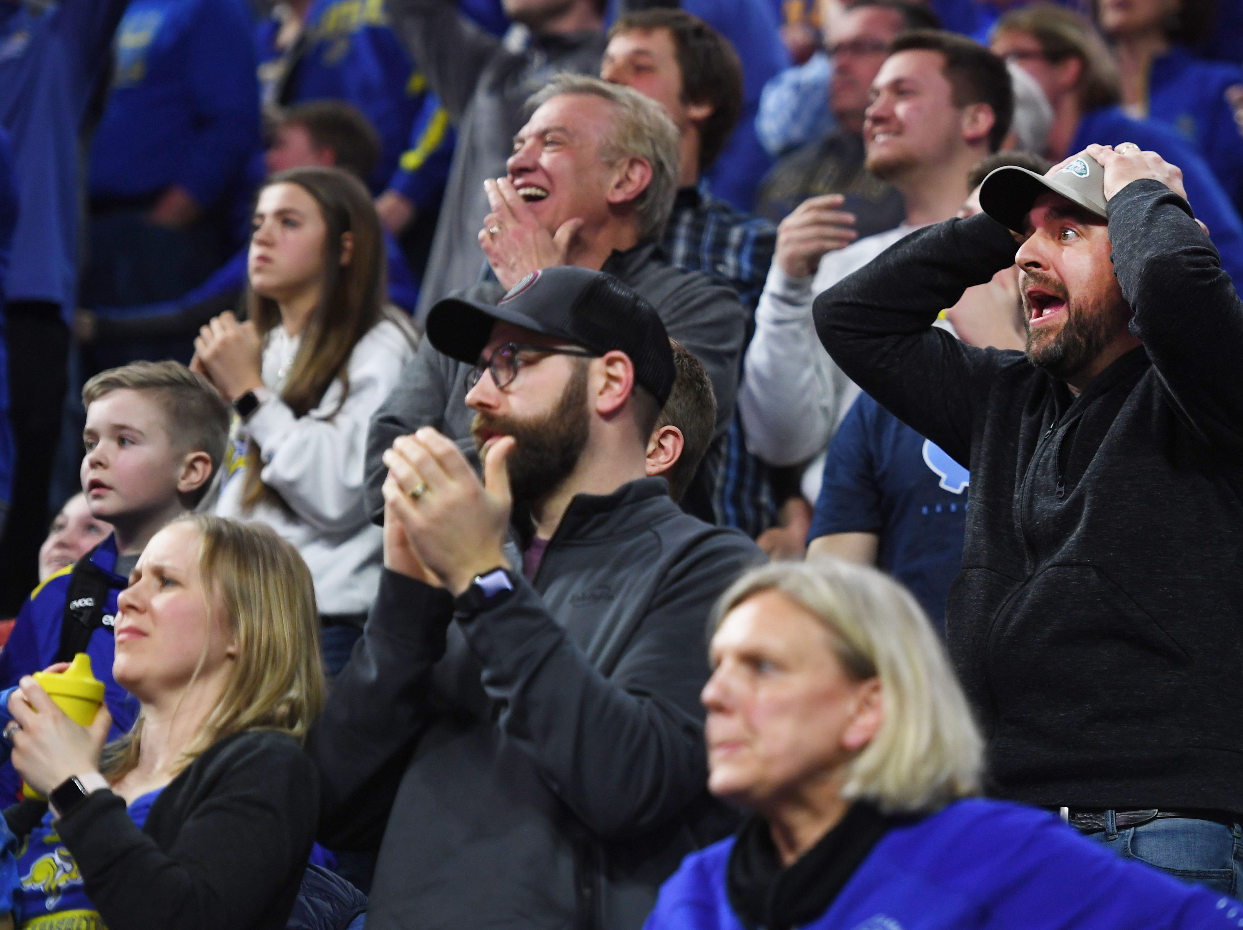 SDSU fans during the game against Western Illinois Saturday, March 9, in the Summit League tournament at the Denny Sanford Premier Center in Sioux Falls.