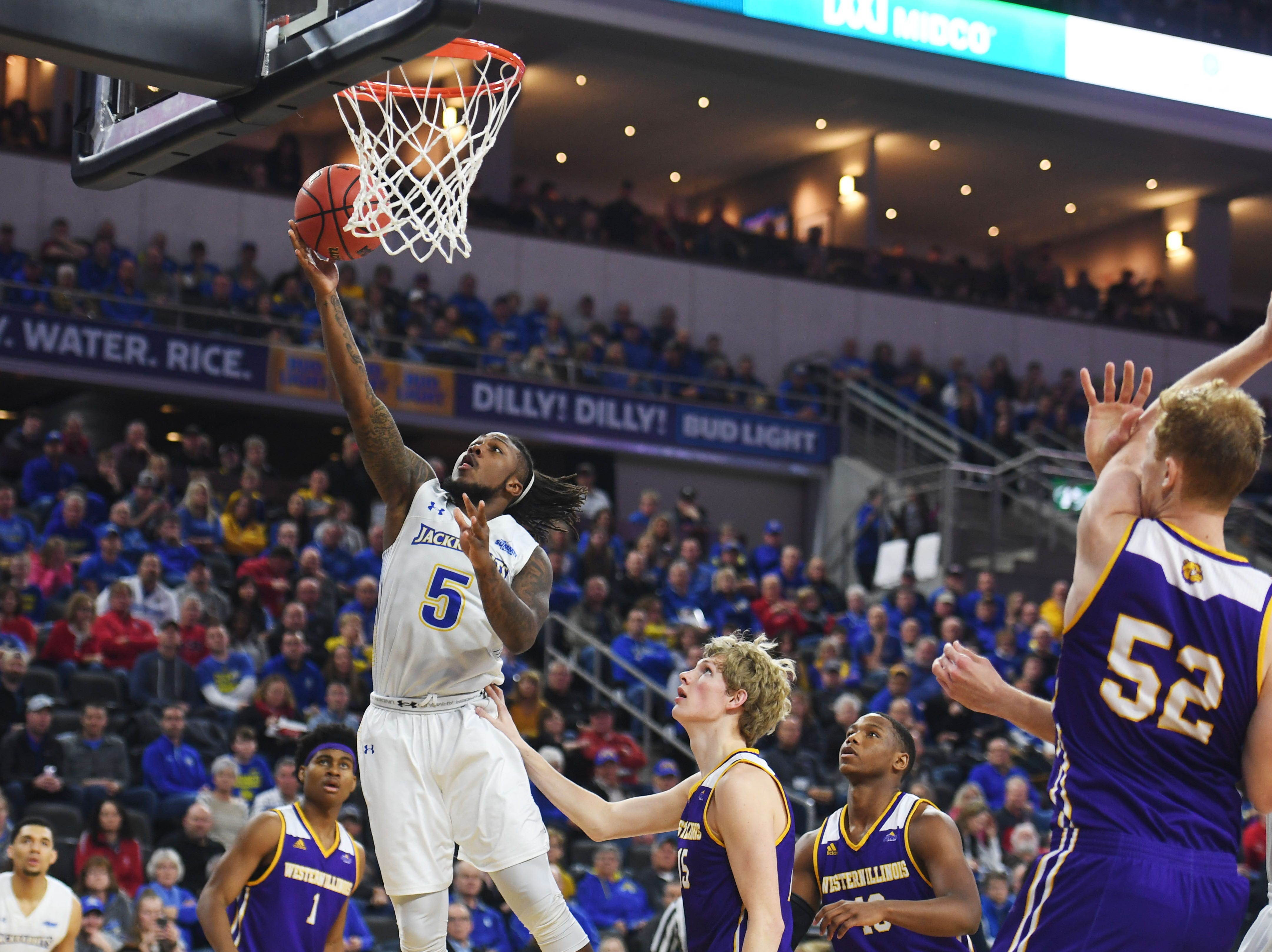 SDSU's David Jenkins attempts to score against Western Illinois Saturday, March 9, in the Summit League tournament at the Denny Sanford Premier Center in Sioux Falls.
