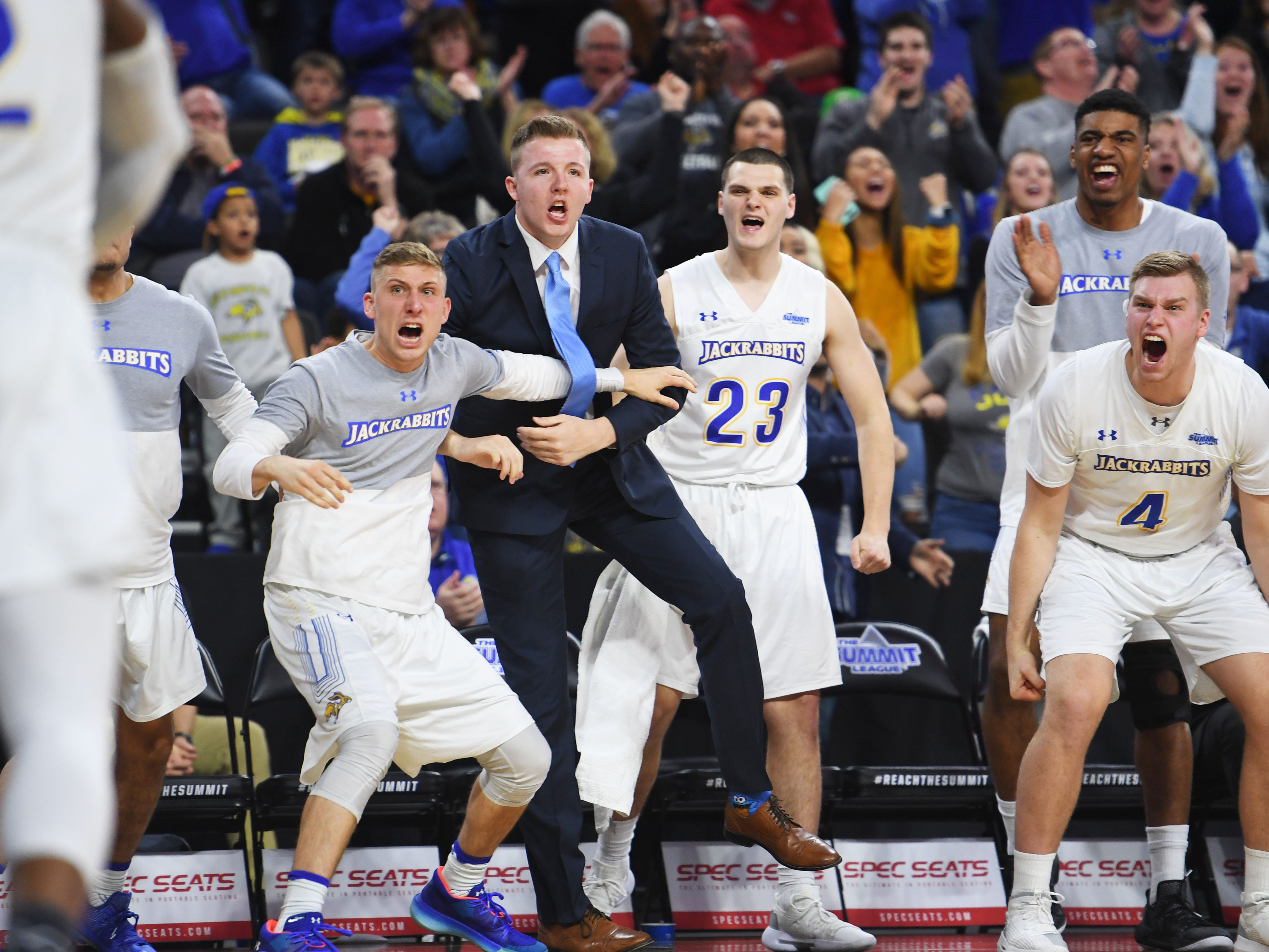 SDSU's sideline reacts during the fourth period of the game against Western Illinois Saturday, March 9, in the Summit League tournament at the Denny Sanford Premier Center in Sioux Falls. Western Illinois beat SDSU 79-76.
