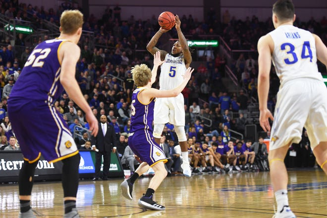SDSU's David Jenkins takes a shot against Western Illinois during the game Saturday, March 9, in the Summit League tournament at the Denny Sanford Premier Center in Sioux Falls.