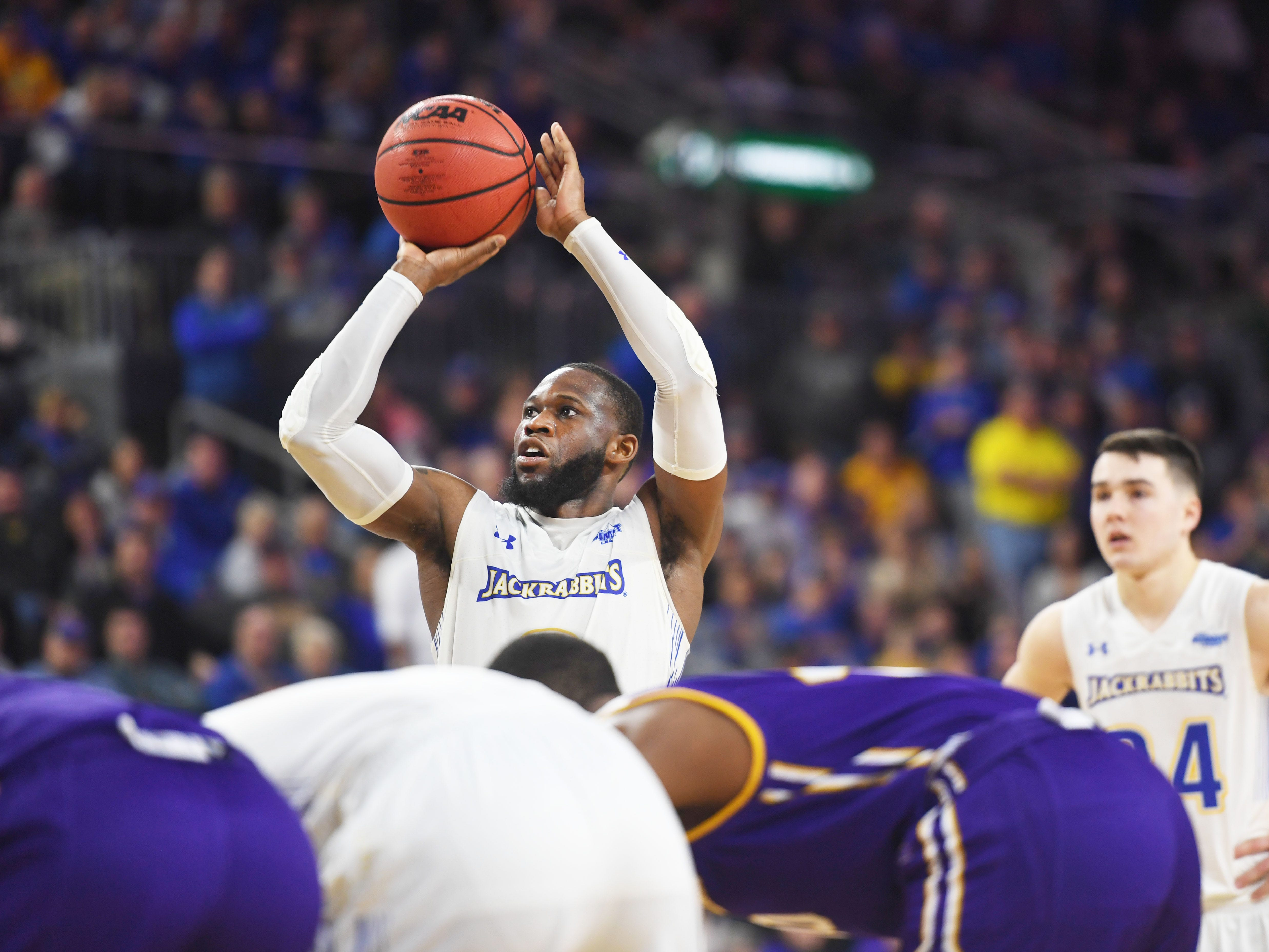 SDSU's Tevin King shoots a free throw during the game against Western Illinois Saturday, March 9, in the Summit League tournament at the Denny Sanford Premier Center in Sioux Falls.