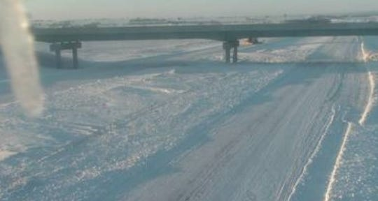 A screen capture of the view of a South Dakota Department of Transportation road condition cams, this on along Interstate 29 near Sisseton, Sunday morning.