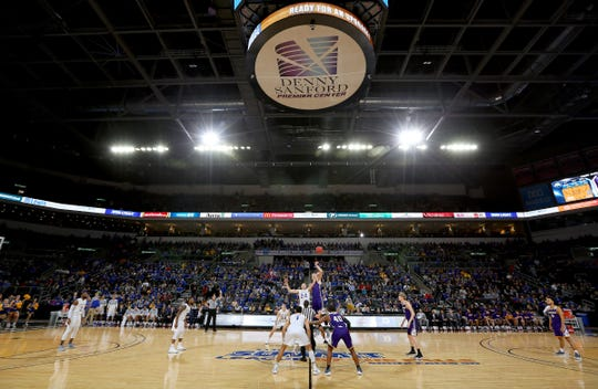 SIOUX FALLS, SD - MARCH 9:  Tipoff of the quarterfinal game between No. 1 seed South Dakota State and No. 8 seed Western Illinois at the 2019 Summit League Basketball Tournament at the Denny Sanford Premier Center in Sioux Falls. (Photo by Dick Carlson/Inertia)