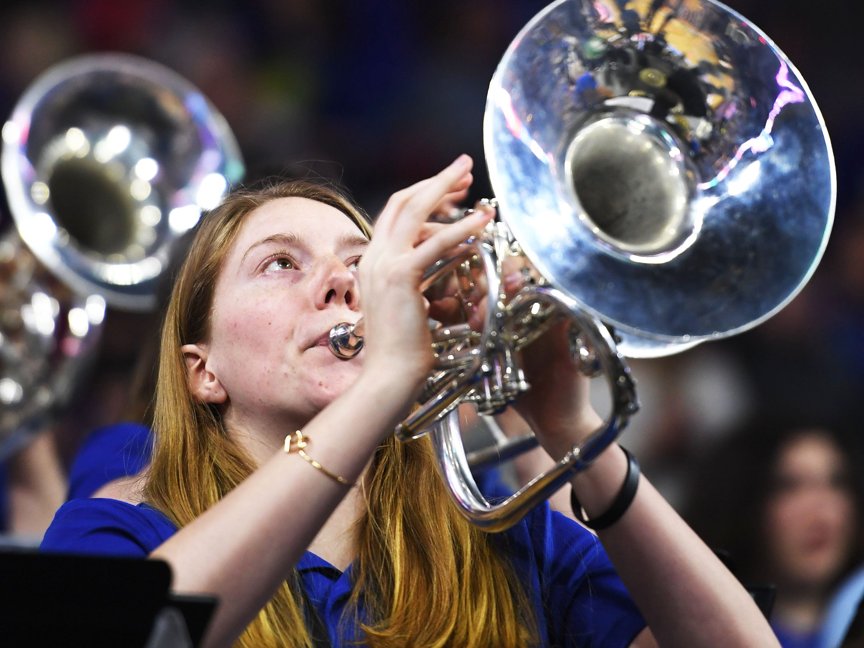SDSU's band performs during the game against Western Illinois Saturday, March 9, in the Summit League tournament at the Denny Sanford Premier Center in Sioux Falls.
