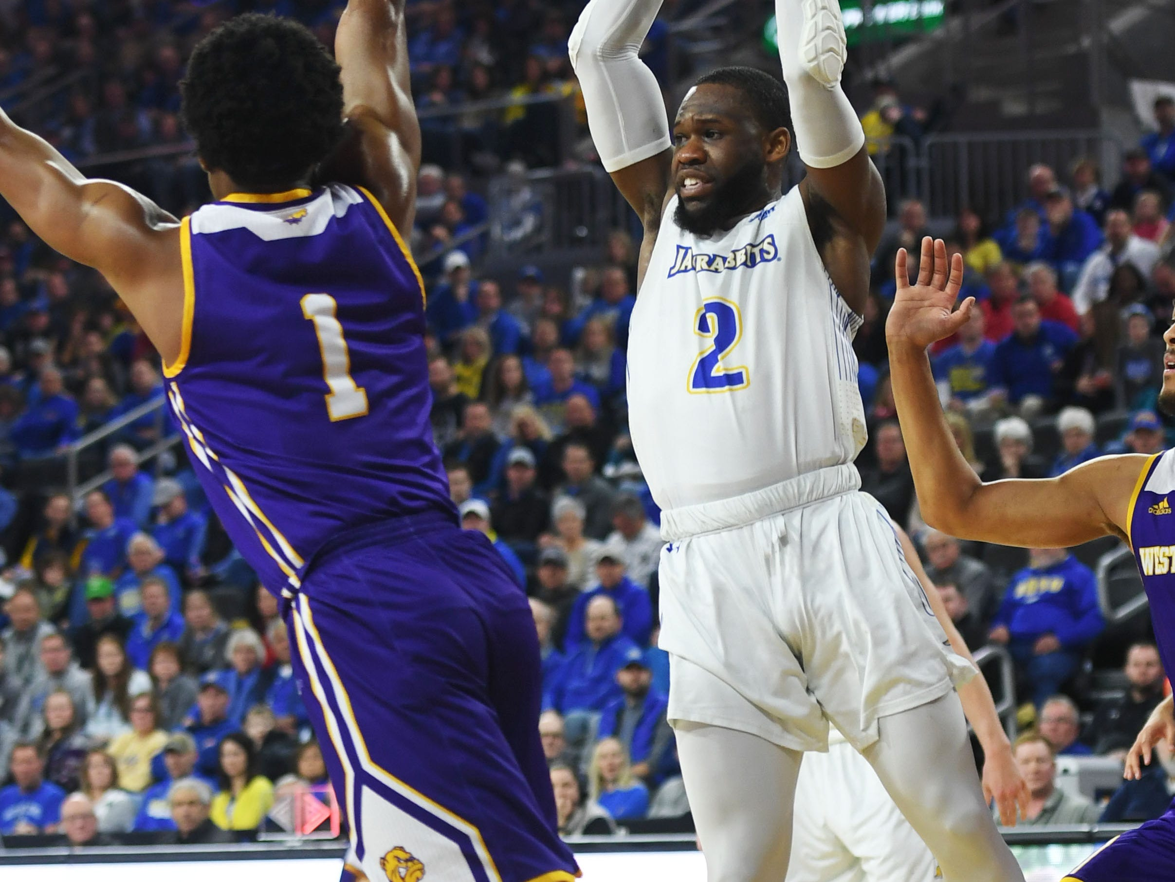SDSU's Tevin King goes against Western Illinois defense during the game Saturday, March 9, in the Summit League tournament at the Denny Sanford Premier Center in Sioux Falls.