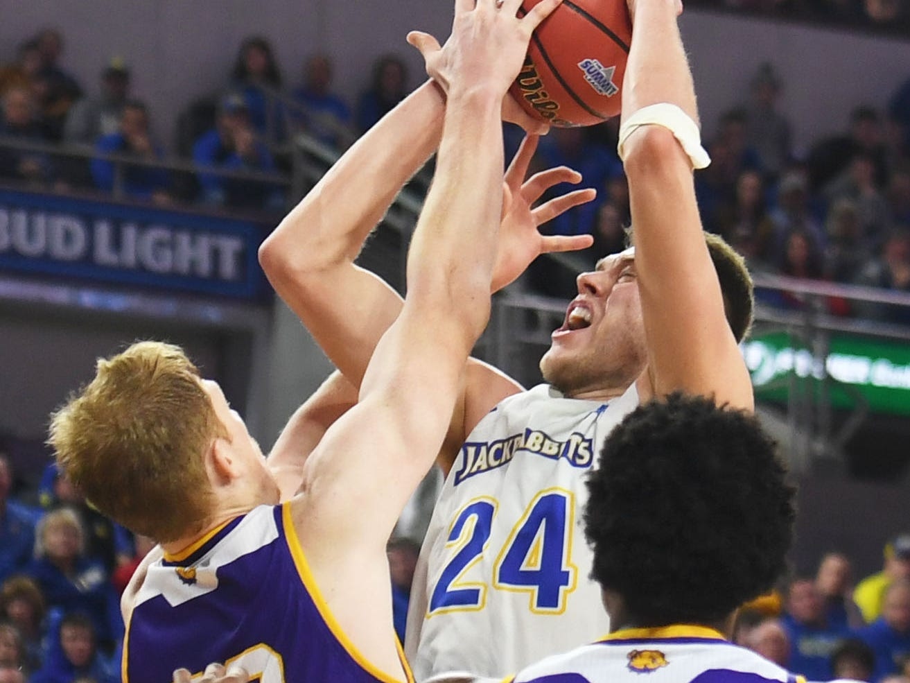 SDSU's Mike Daum attempts to score against Western Illinois Saturday, March 9, in the Summit League tournament at the Denny Sanford Premier Center in Sioux Falls.
