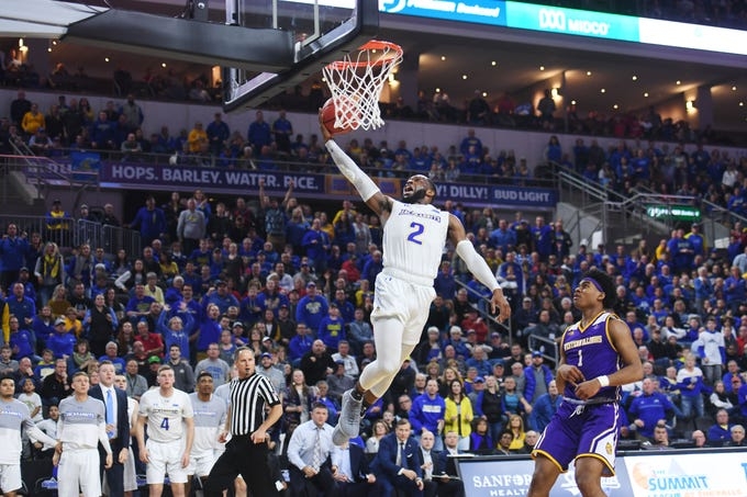 SDSU's Tevin King scores against Western Illinois during the game Saturday, March 9, in the Summit League tournament at the Denny Sanford Premier Center in Sioux Falls.