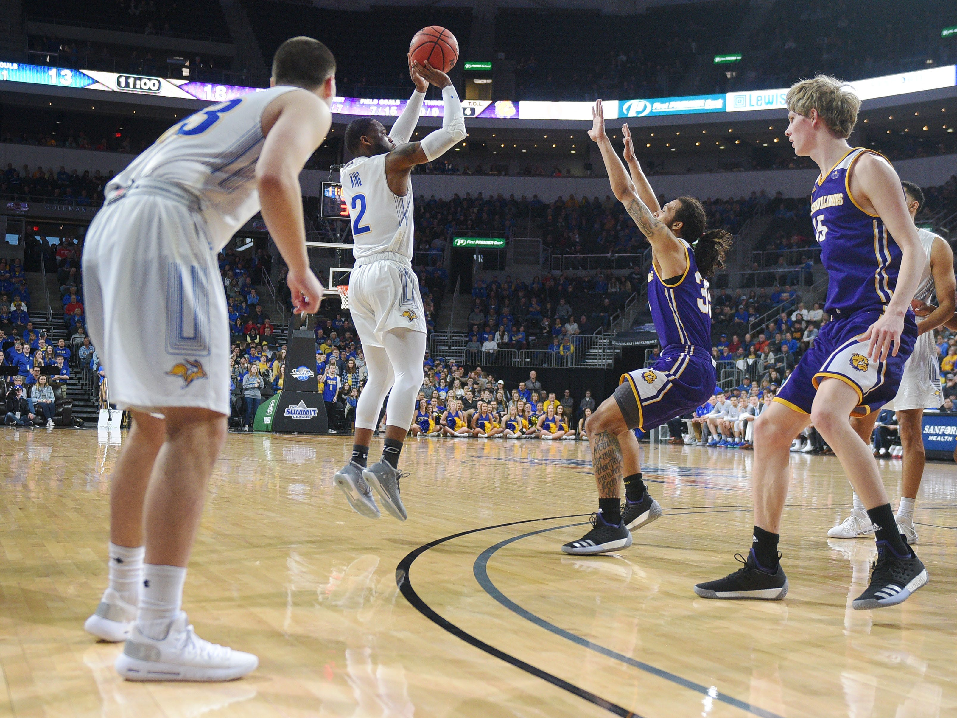 SDSU's Tevin King takes a shot against Western Illinois during the game Saturday, March 9, in the Summit League tournament at the Denny Sanford Premier Center in Sioux Falls.