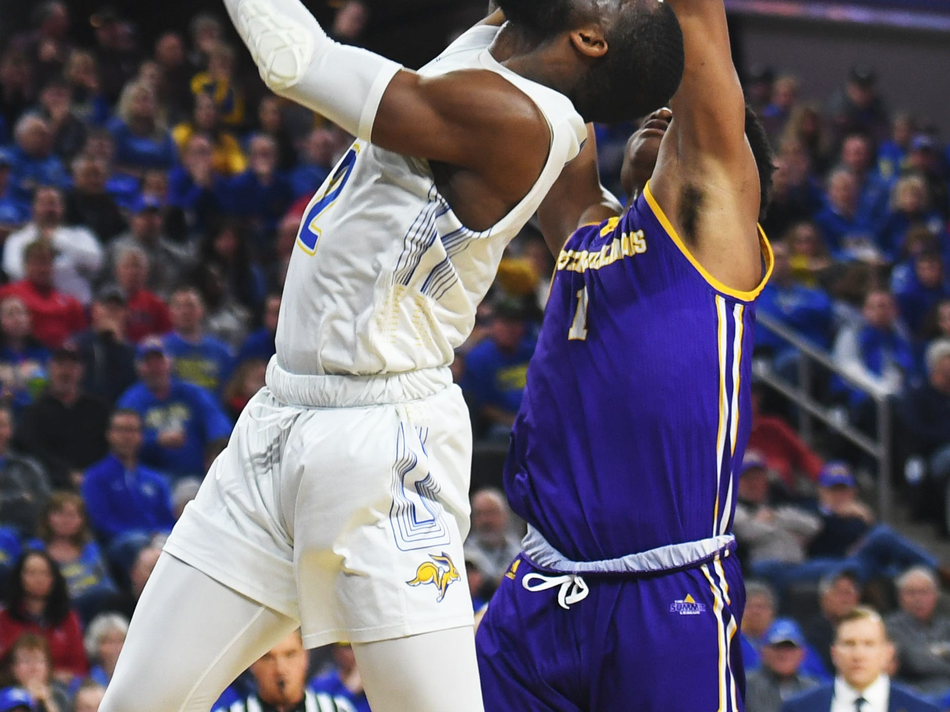 SDSU's Tevin King attempts to score against Western Illinois Saturday, March 9, in the Summit League tournament at the Denny Sanford Premier Center in Sioux Falls.