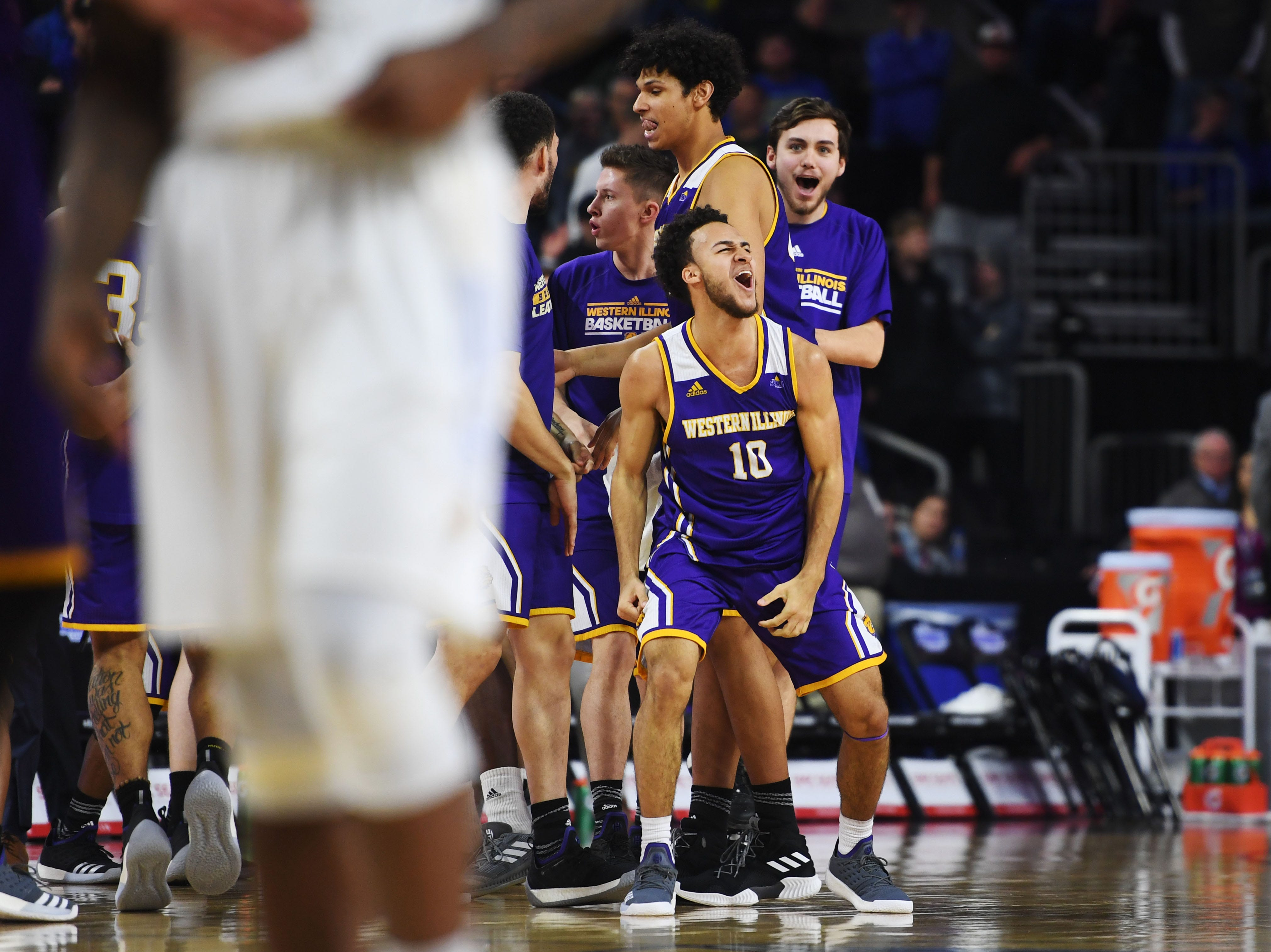 Western Illinois' Kobe Webster lets out a yell after their win against SDSU Saturday, March 9, in the Summit League tournament at the Denny Sanford Premier Center in Sioux Falls. Western Illinois won 79-76.