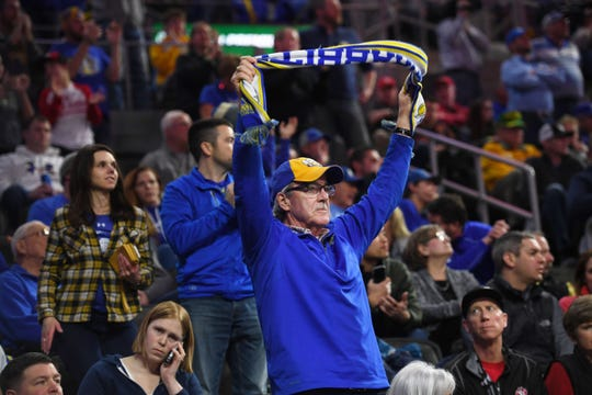 A South Dakota State fan shows his colors at the 2019 Summit League tournament at the Denny Sanford Premier Center.