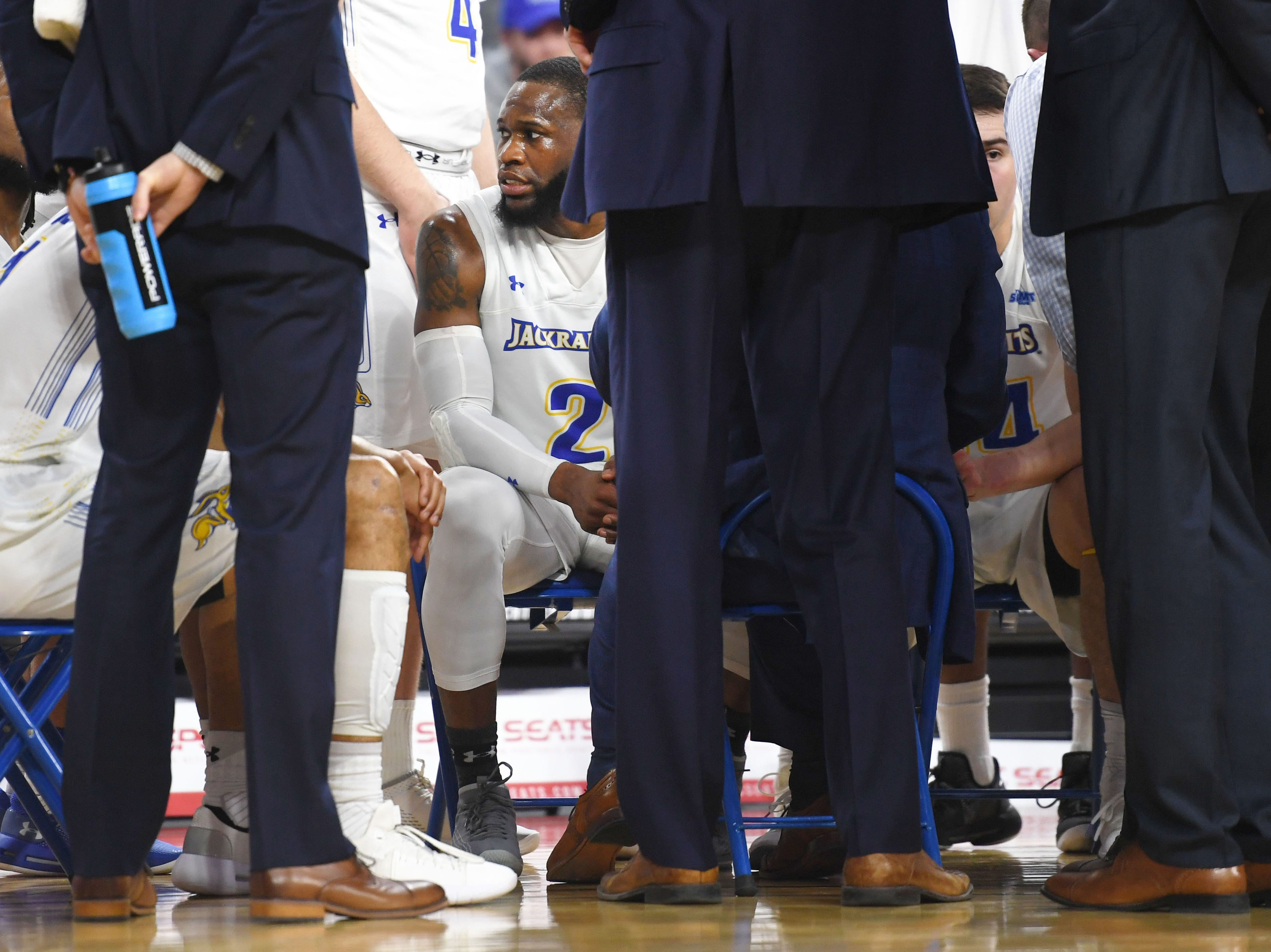 SDSU's Tevin King in a huddle during the game against Western Illinois Saturday, March 9, in the Summit League tournament at the Denny Sanford Premier Center in Sioux Falls.