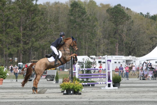 Caroline Martin rides Danger Mouse in stadium jumping Sunday and places third overall in the second highest international division at the Red Hills Horse Trials 2019.