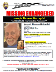 Joseph Thomas Holzapfel, 99, went missing March 3, 2019.