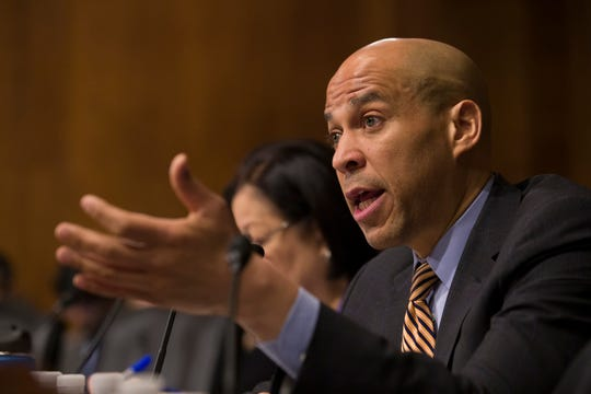 In this March 6 photo, Sen. Cory Booker, D-N.J., questions U.S. Customs and Border Protection Commissioner Kevin McAleenan during a hearing in Washington. A growing list of Democratic presidential contenders want the U.S. government to legalize marijuana, reflecting a nationwide shift. Booker has sponsored a legalization bill and it's supported by Kamala Harris and fellow Sens. Kirsten Gillibrand of New York, Elizabeth Warren of Massachusetts and Bernie Sanders of Vermont.