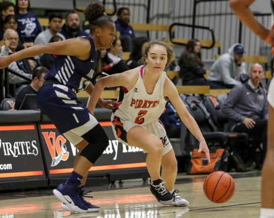 Ventura College freshman Talia Taufaasau dribbles upcourt during the CCCAA Southern California regional final against Irvine Valley on Saturday night in Ventura. Ventura won, 73-53.