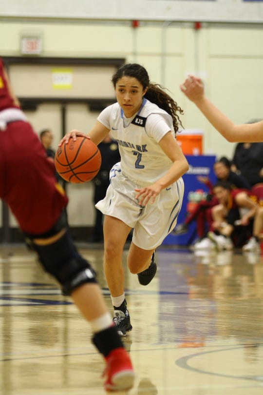 Moorpark College freshman Isabel Ayala dribbles up the floor during the CCCAA Southern California regional final against Glendale on Saturday night at Raider Pavilion. Moorpark won, 79-66.