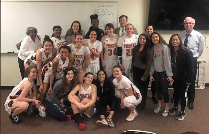 The Ventura College women's basketball team celebrates its state-record 18th CCCAA state tournament appearance after Saturday night's 73-53 regional final win over Irvine Valley College.